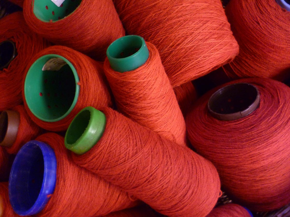 Dyed wool ready to be woven