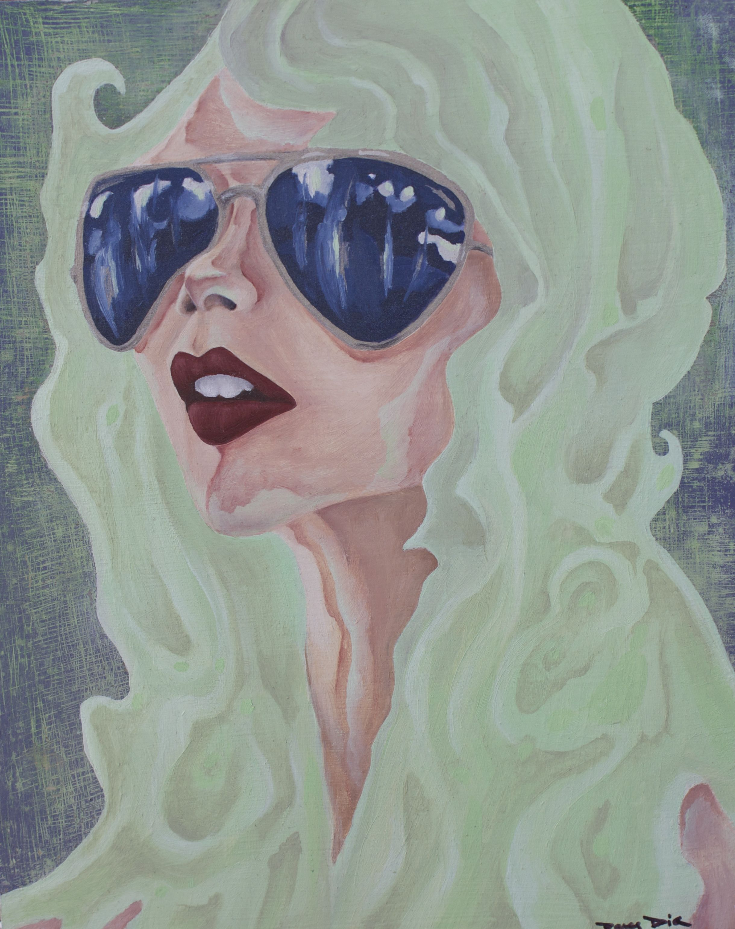 Her Glasses  12x9  Mixed Media