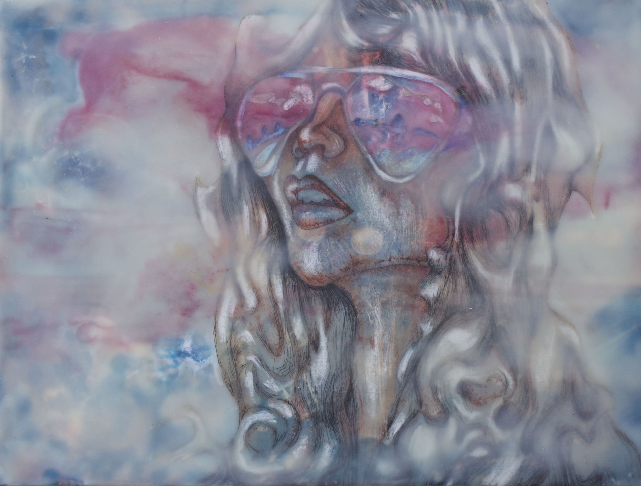 Her Glasses #1  9x12  Encaustic  $260