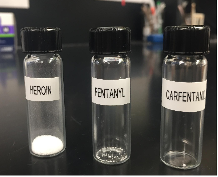 These vial compare the lethal amount of heroin, fentanyl and carfentanil