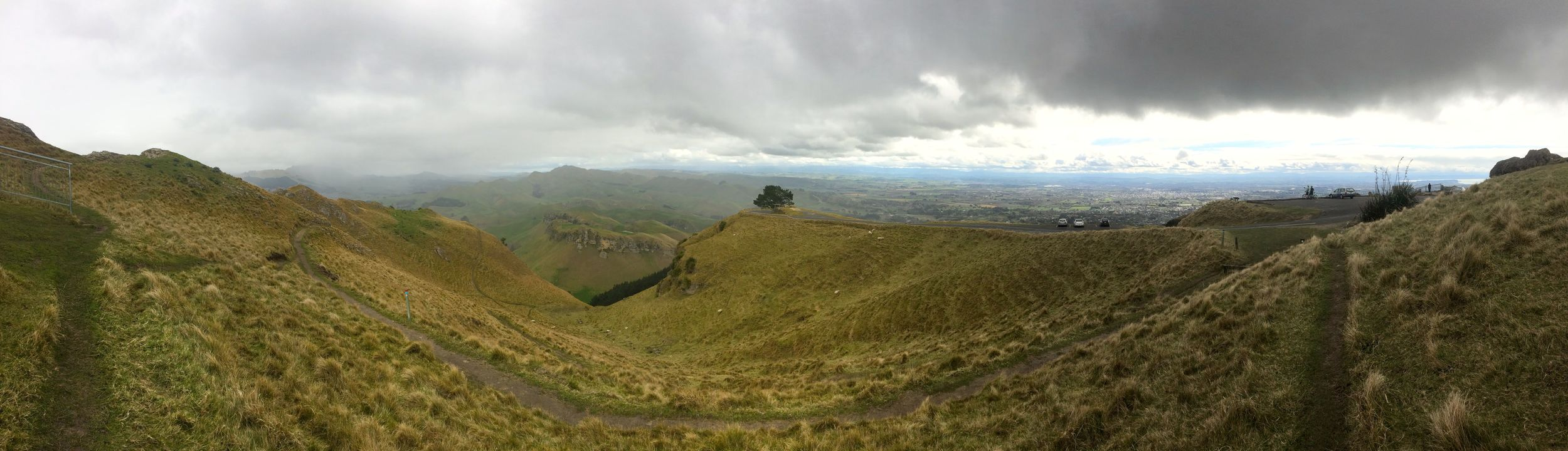 This is at the top of Te Mata peak in Hawkes Bay. The drop offs were sheer. In New Zealand they just let you walk right up to the edge. This is the side which isn't so terrifying. On the other side,  I laid down on my stomach in the sheep shit I was so scared. Andrew strode right up to the edge.
