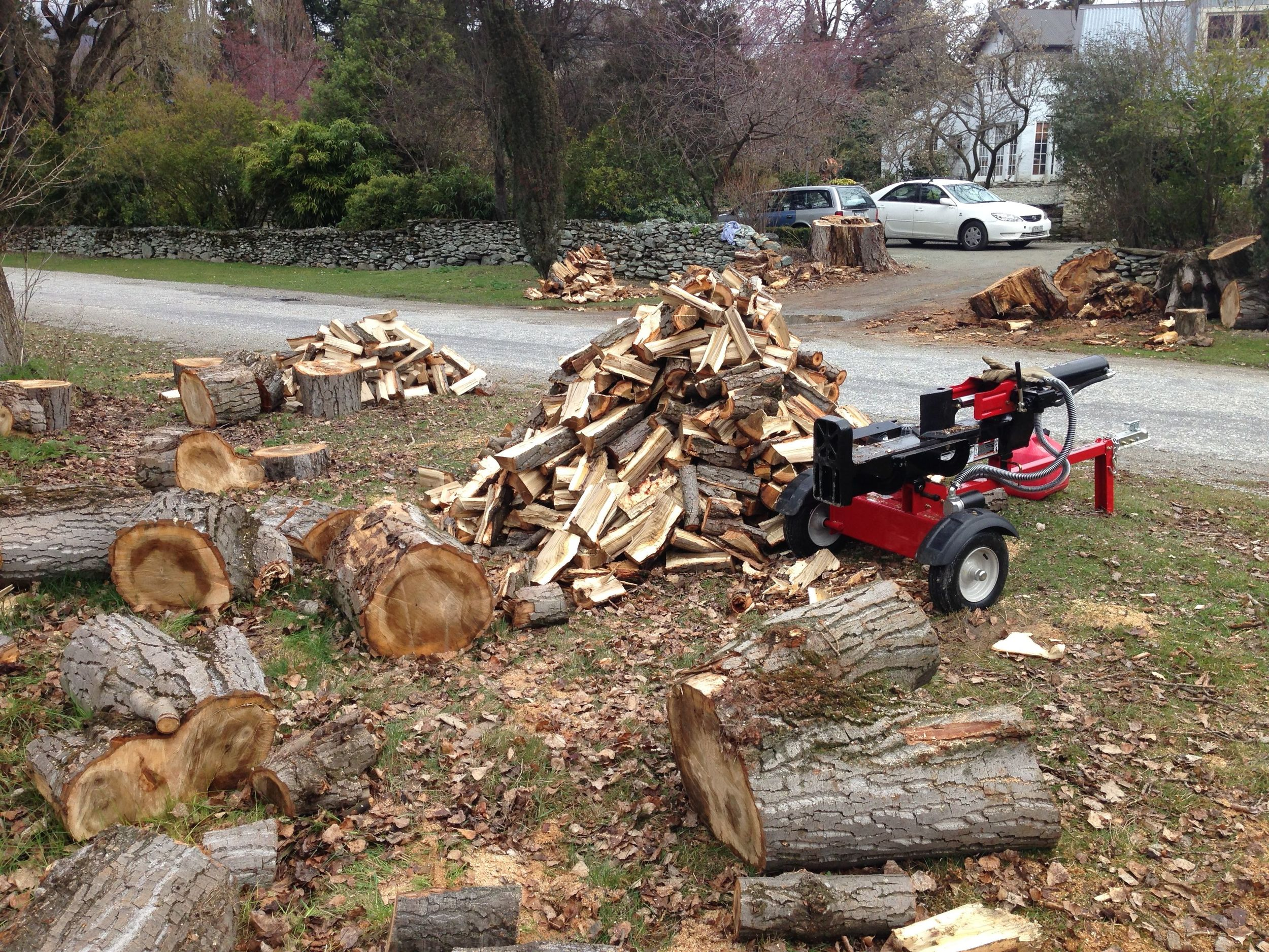 Breaking in the brand new log splitter.