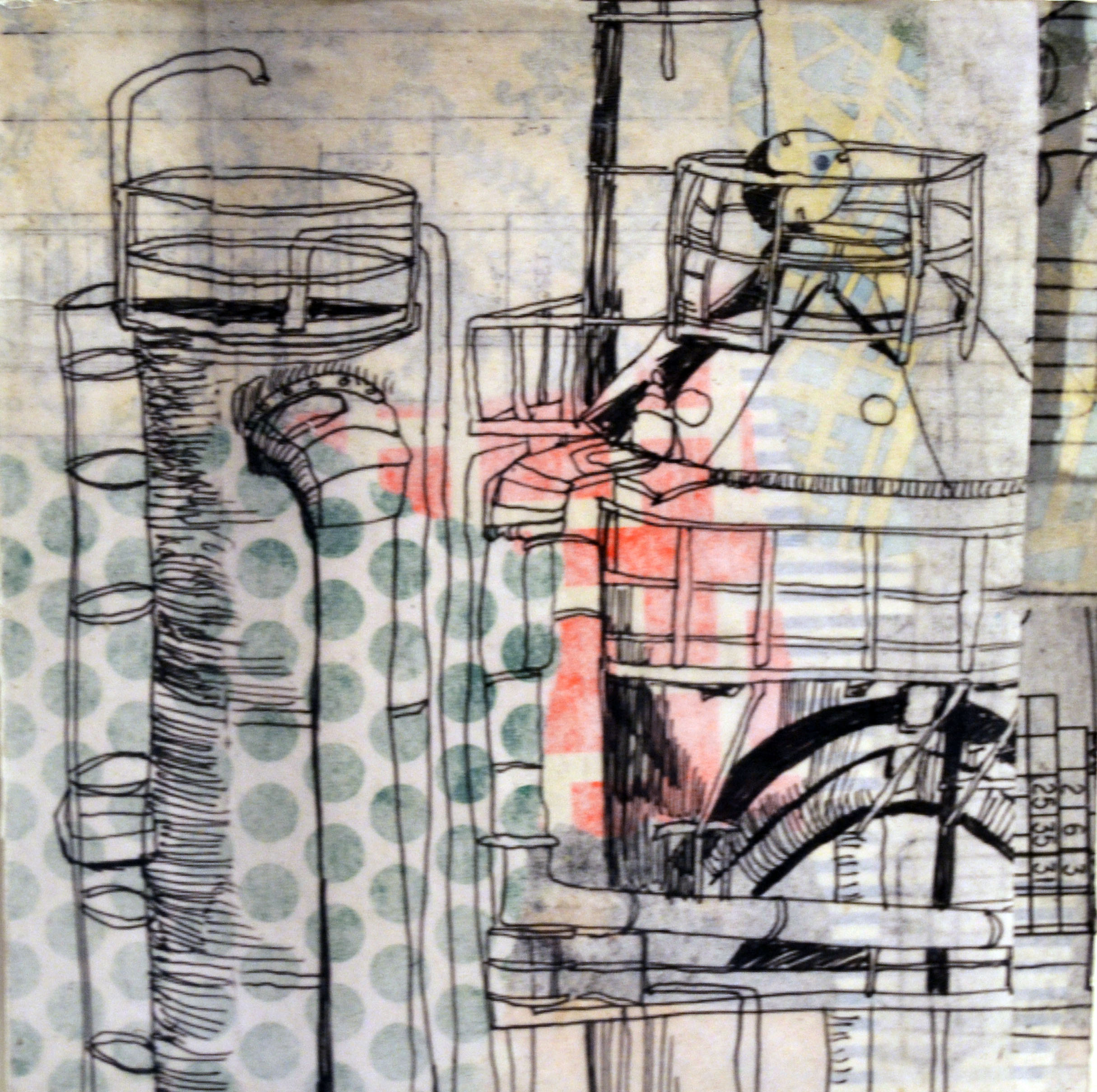 Gasworks, collage and gel transfers of drawings on panel, 2014