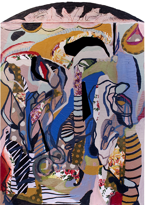 Suzy Q dancing in her garden everywhere all the time, mixed media on canvas with found object, 2013