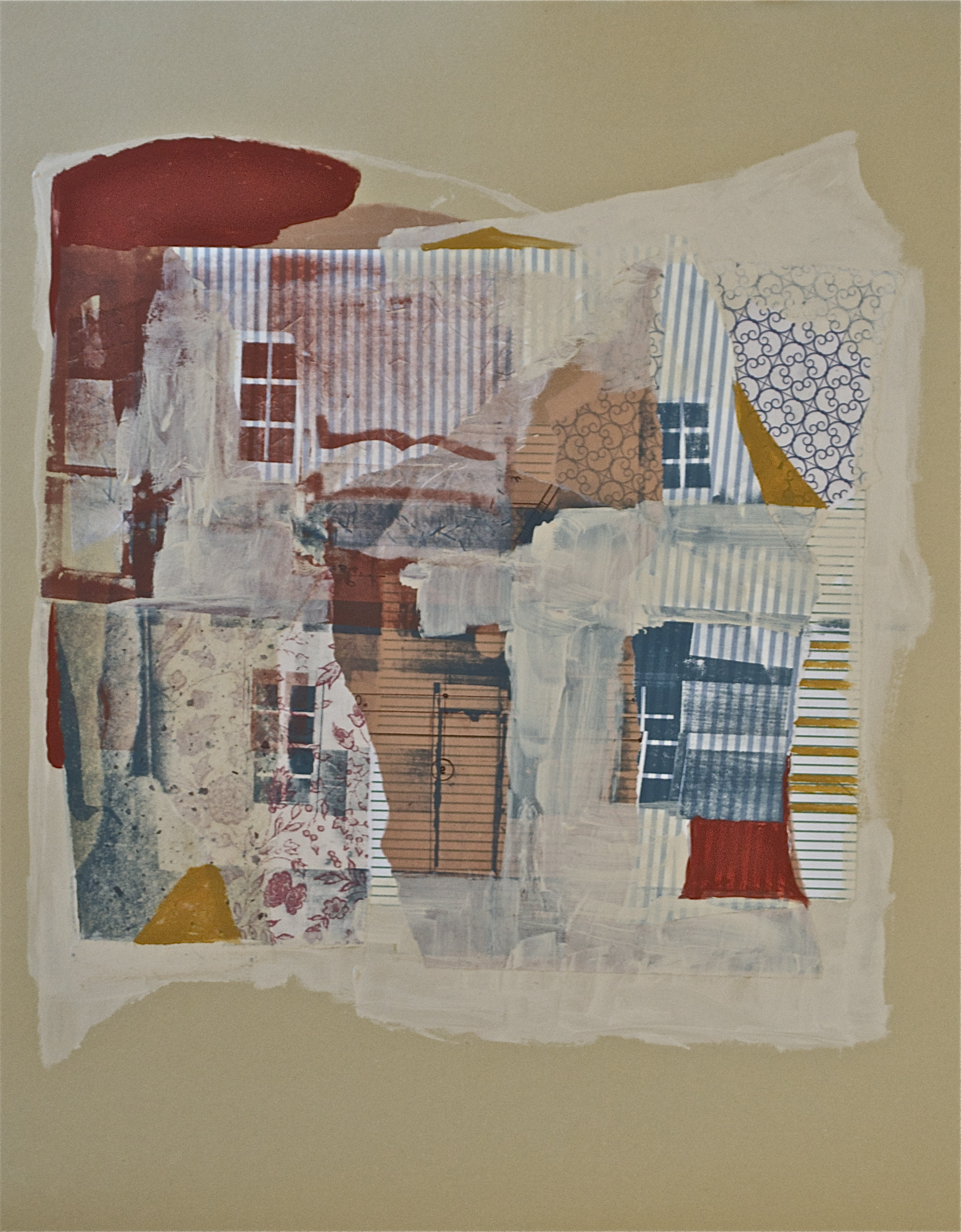 "Pieces of a broken house,  acrylic and serigraphy and chine-coll é  on paper, 20"" H x 16"" W, 2012"