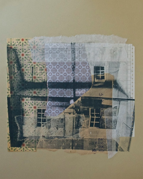 "The Dollhouse before they moved in,  serigraphy and chine-collé on paper, 20"" H X 16"" W, 2012"