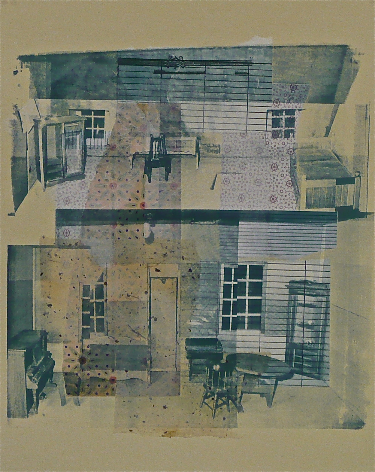 "The Dollhouse: Scene III,  serigraphy and chine-coll é  on paper, 20"" H x 16"" W, 2012"