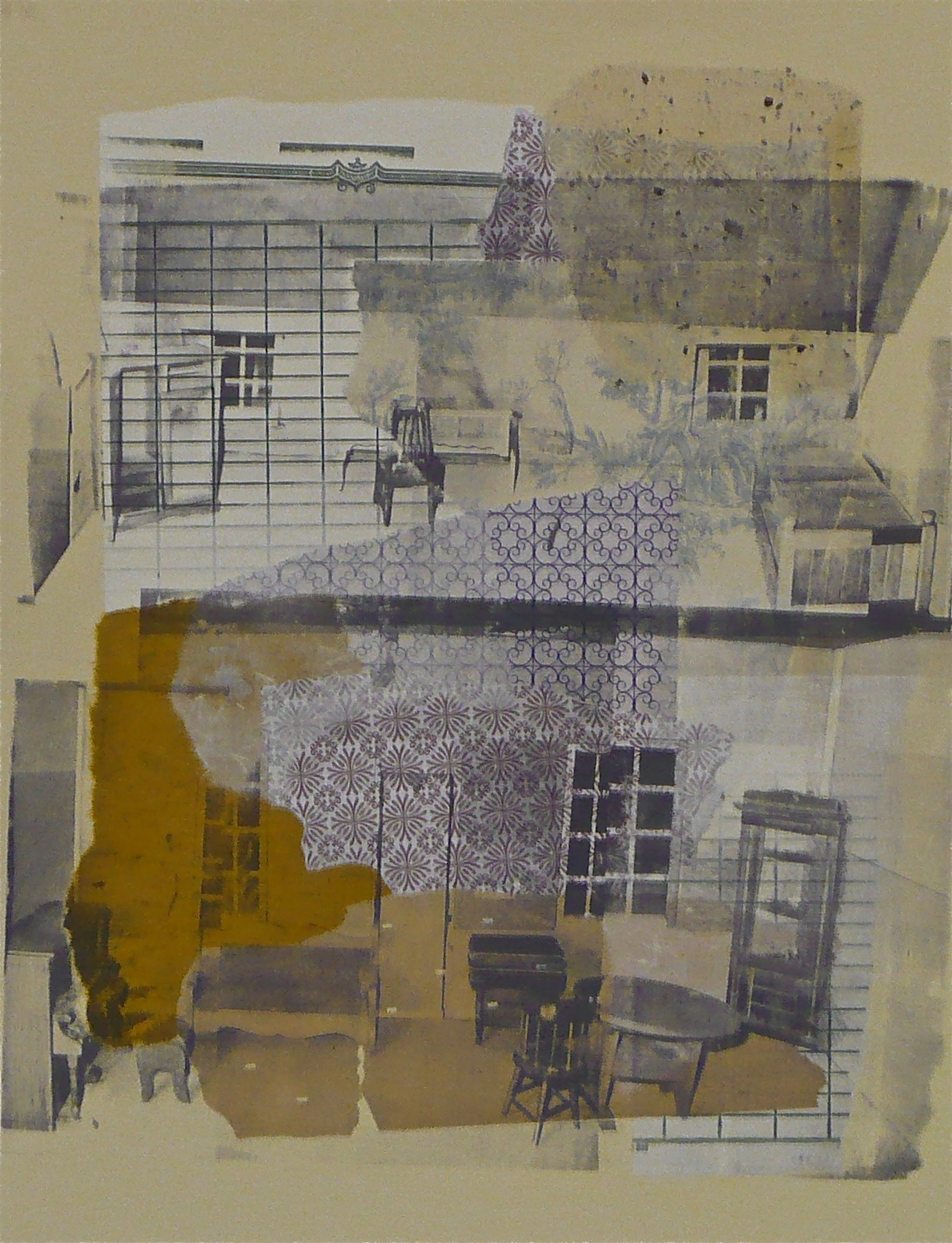 "The Dollhouse: Scene II,  serigraphy and chine-coll é  on paper, 20"" H x 16"" W, 2012"