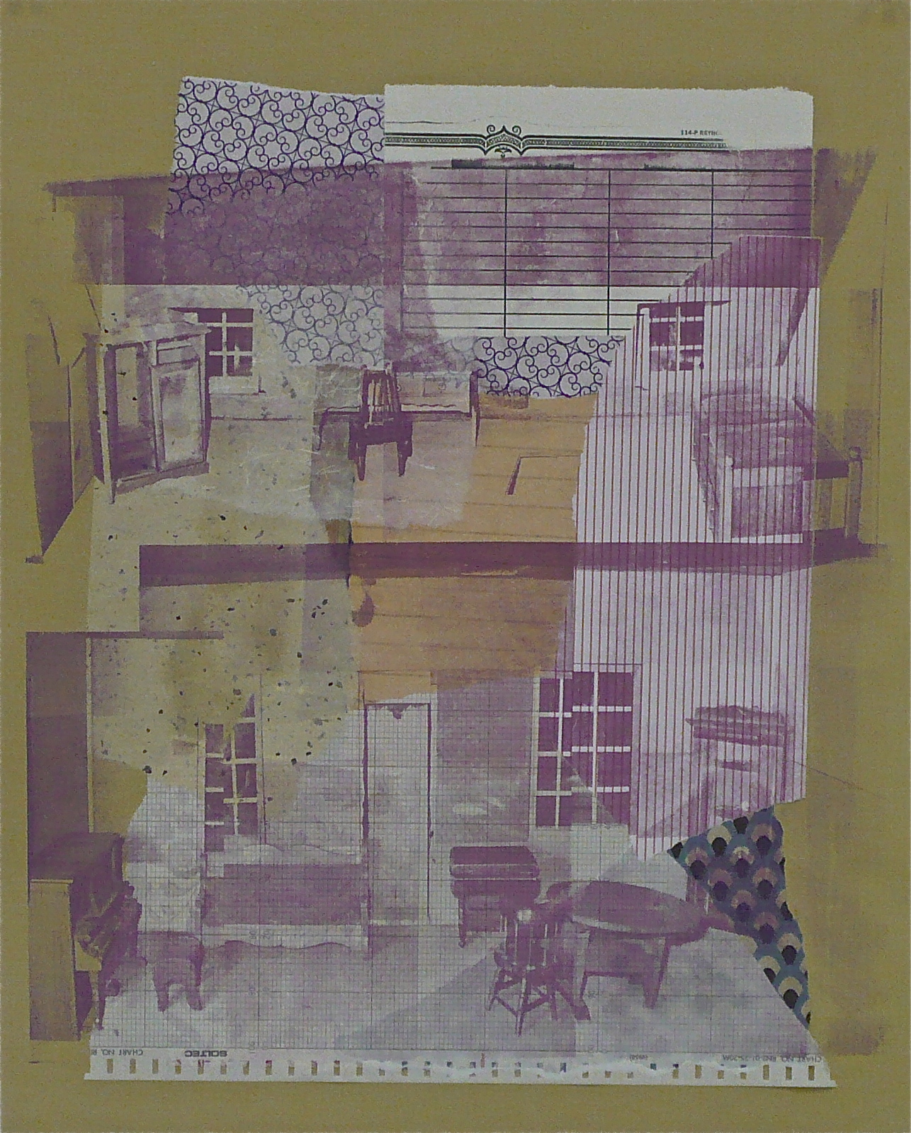 "The Dollhouse: Scene IV,  serigraphy and chine-coll é  on paper, 20"" H x 16"" W, 2012"
