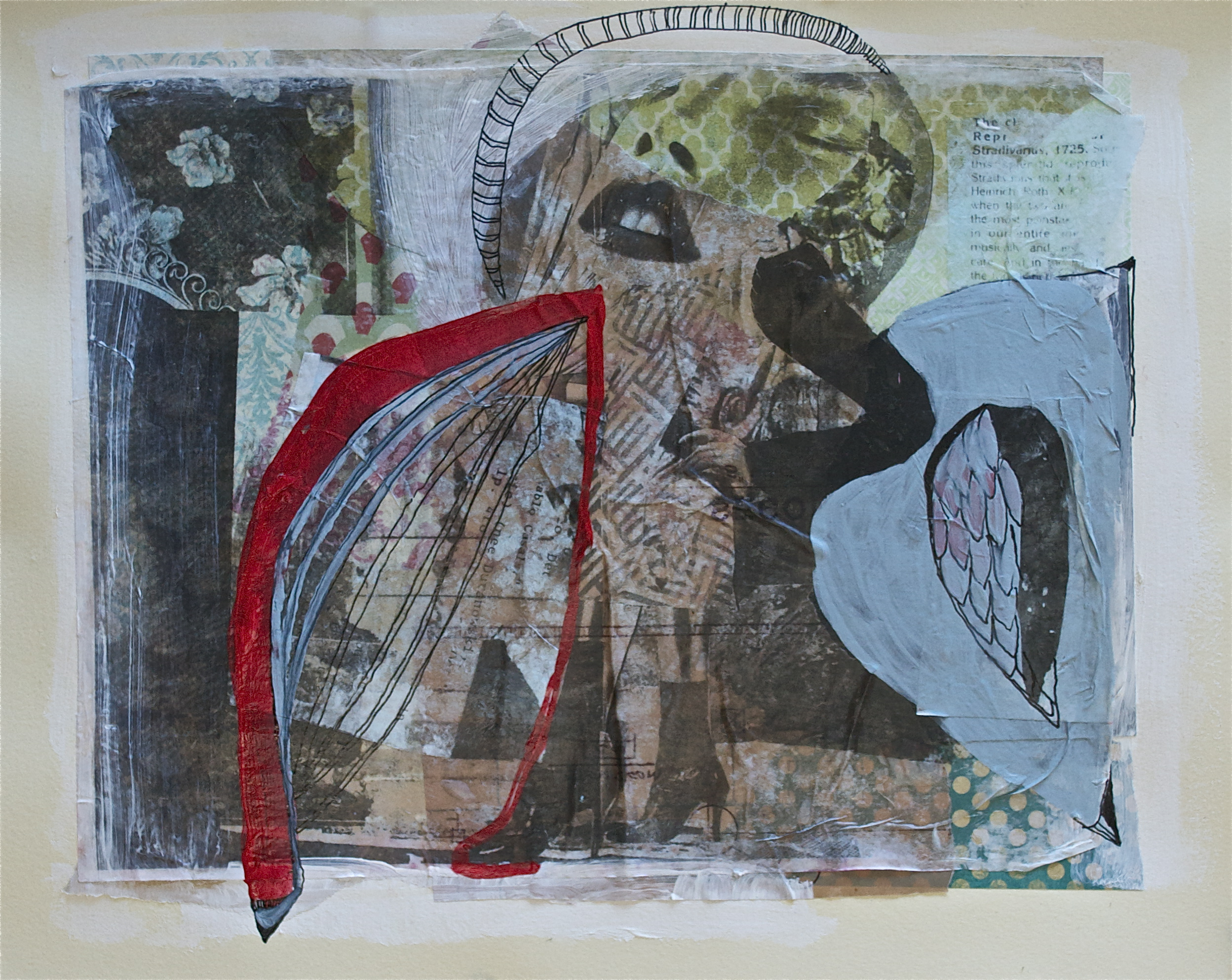 """Hydrocodine wings/dreams, acrylic, collage and gel transfer on paper, 11"""" H x 14"""" W, 2013"""