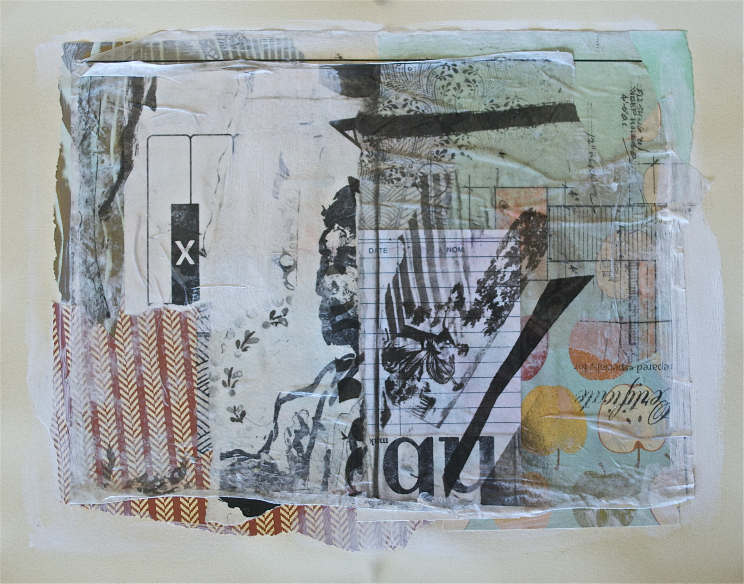 """The application process, acrylic, collage and gel transfer on paper, 11"""" H x 14"""" W, 2013"""