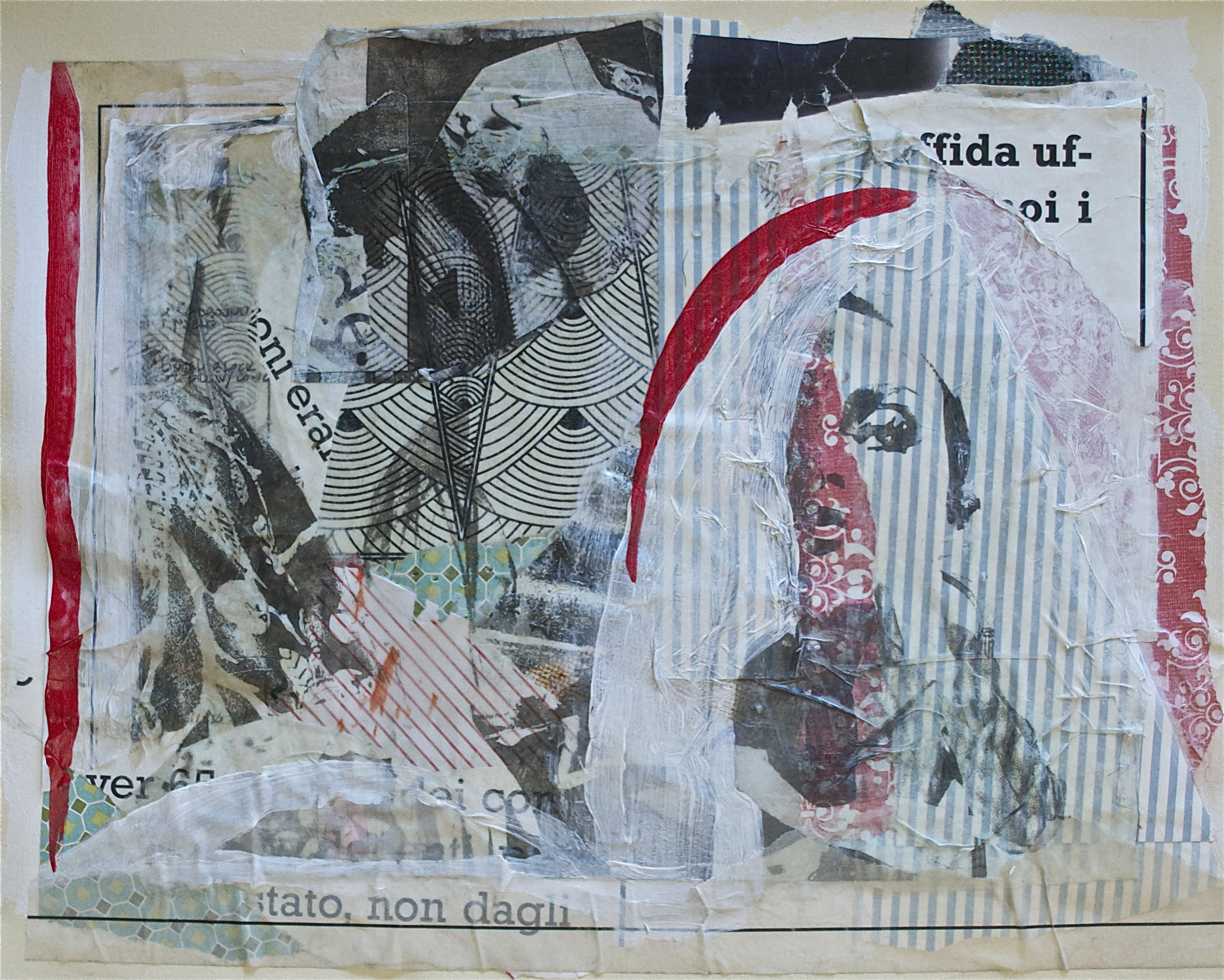 """Alone, collage, acrylic and gel transfer on paper, 11"""" H x 14"""" W, 2013"""