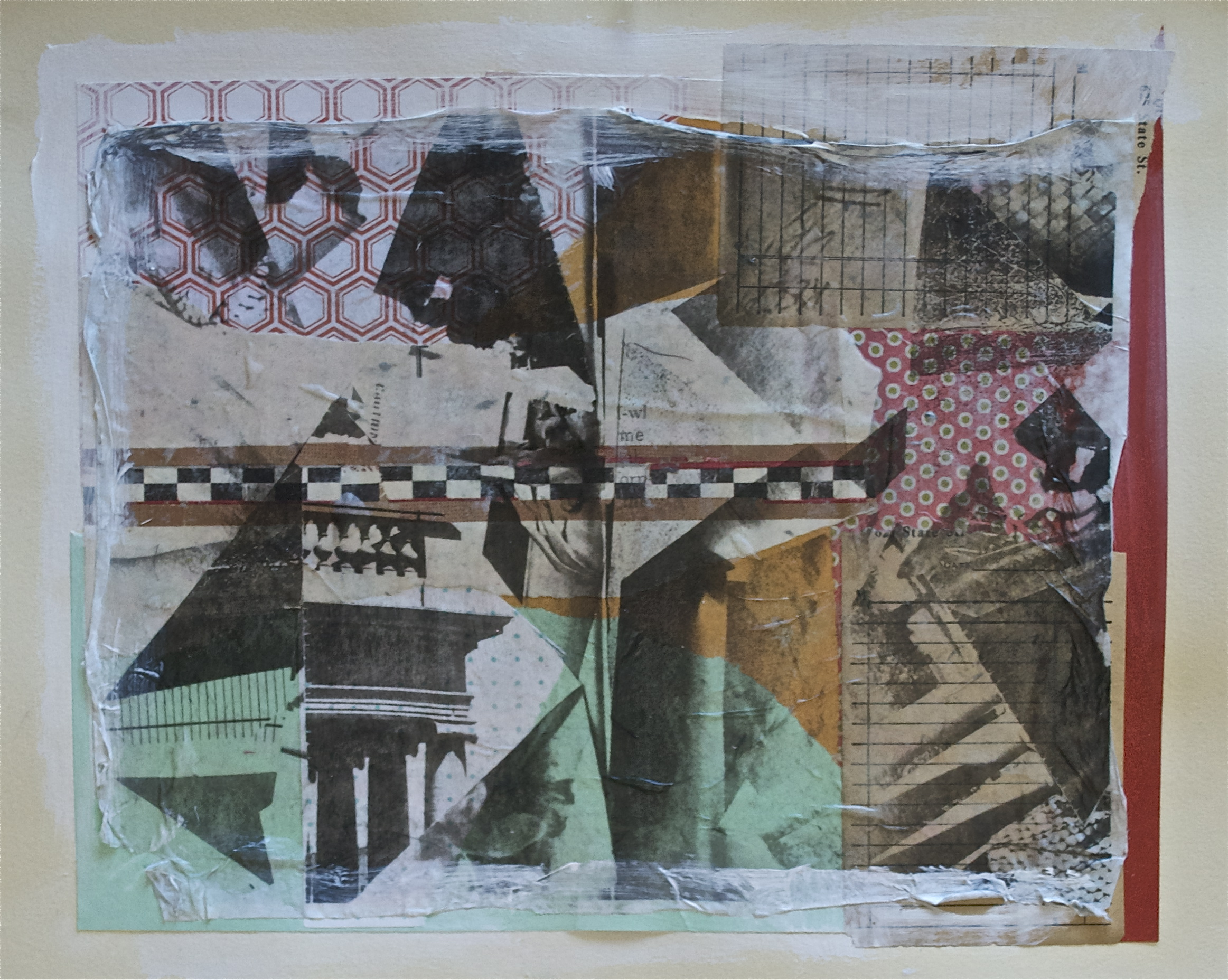 """Unexpected memories, acrylic, collage and gel transfer on paper, 11"""" H x 14"""" W, 2013"""