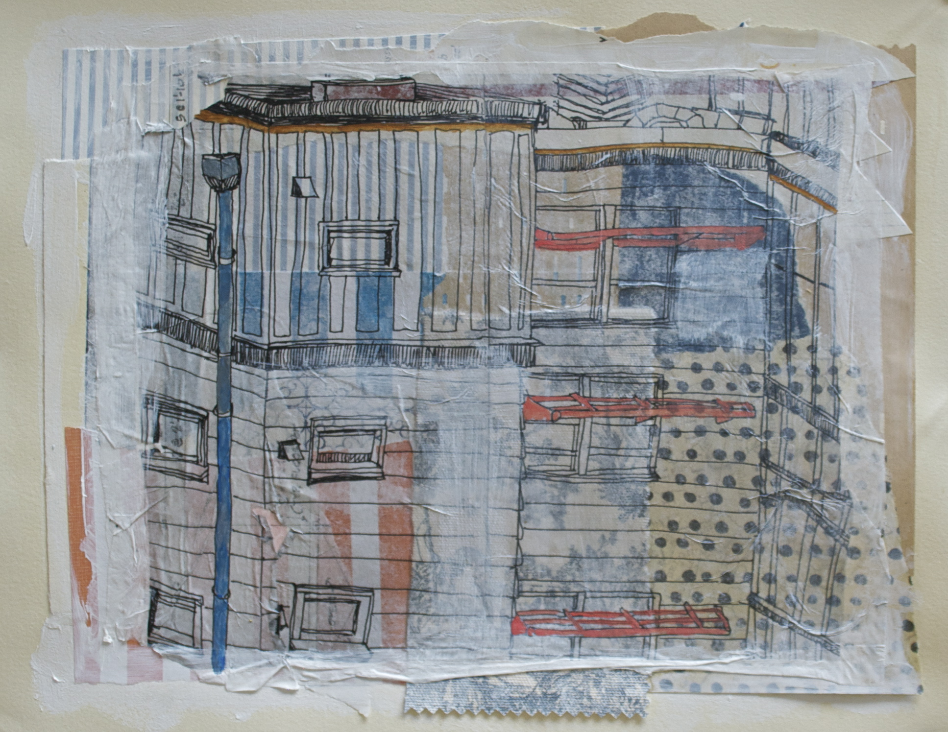 """Tall apartment living, acrylic, collage and gel transfer on paper, 11"""" H x 14"""" W, 2013"""
