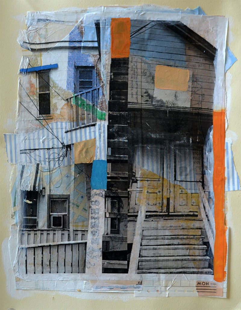 """Forgotten buildings that look the same no matter where you are, acrylic, collage and gel transfer on paper, 14"""" H x 11"""" W, 2013"""