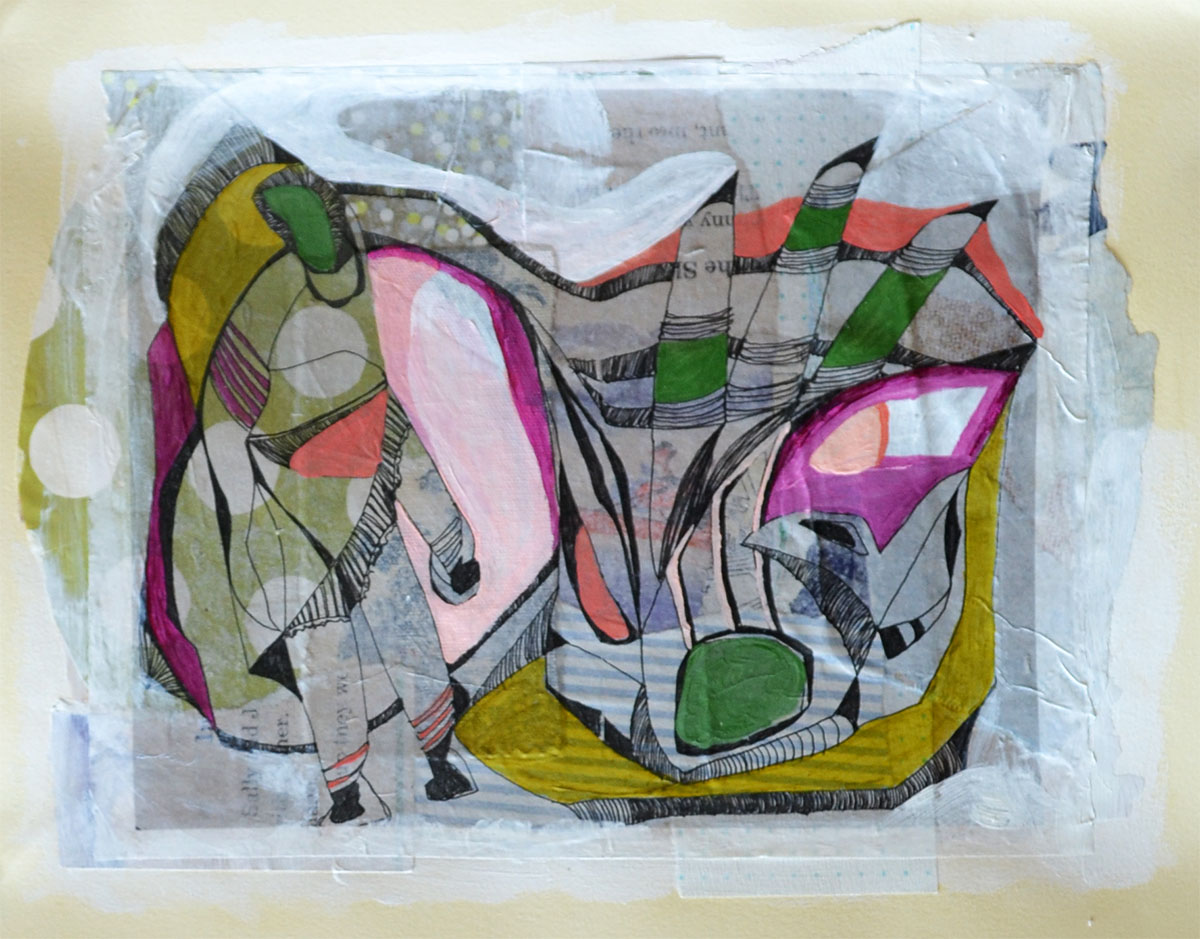 """Hiding amongst the lily pads, acrylic, collage and gel transfer on paper, 11"""" H x 14"""" W, 2013"""