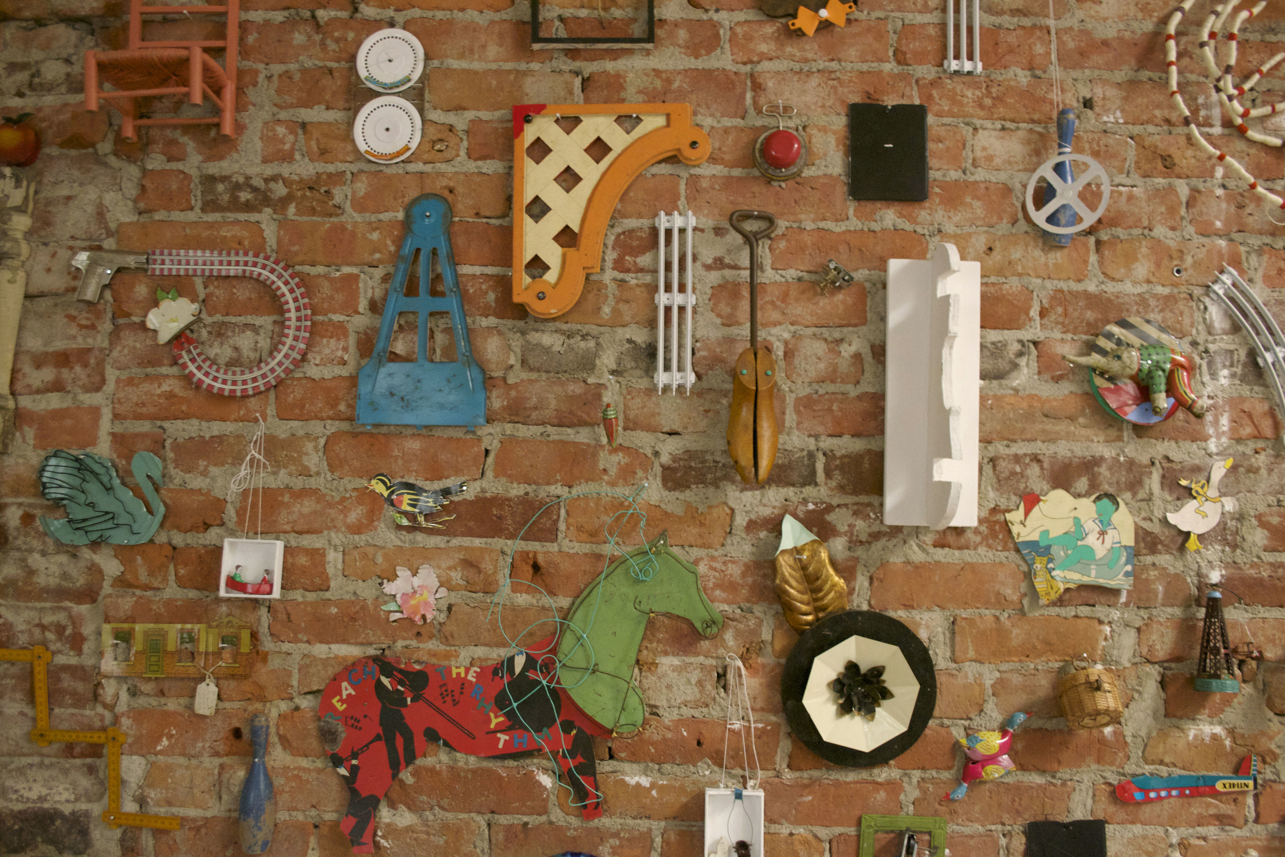 Detail of Object Wall (137 Parts), site specific installation, 2015
