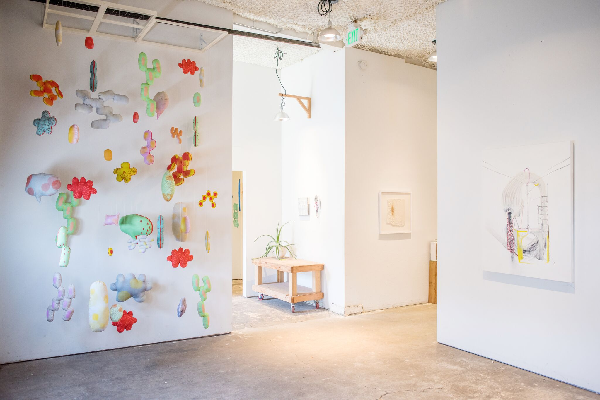 "(Left) Junko Yamamoto, ""Between Consciousness,"" 2018, Soft Sculptures with Wooden Panels, Fishing Wires, Bolts (Far Right) Lydia Goldbeck, ""Untitled,"" 2018, Lithograph, Oil Stick, Graphite Powder, Pencil, Acrylic, Oil, Charcoal, Colored Pencil, Oil Pastel on Panel. Photo courtesy of  Alex Connelly."
