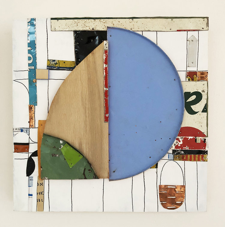 "Stepping Stone,  2018, Acrylic, Flashe Vinyl, Wood, Tin, Nails, Oil Pastel, Copper, Collage on Panel, 12"" H x 12"" W x 2"" D"