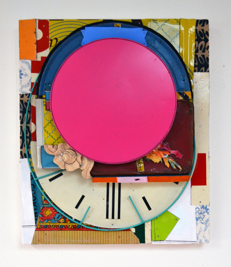 "Baldessari's Object , 2015, Tin, Nails, Collage, Wood, Found Objects, Spray Paint, Flashe Vinyl on Panel, 19"" H x 16"" W x 2"" D"