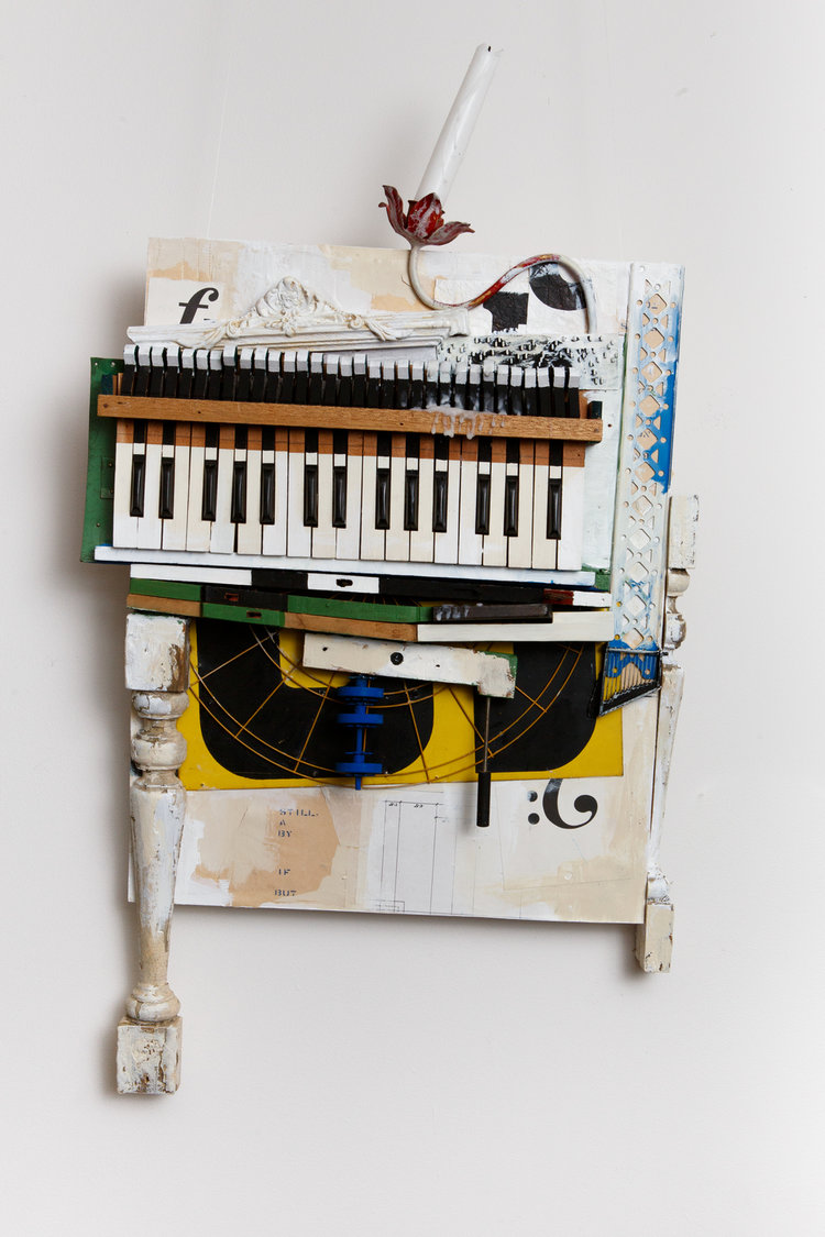 "Listening to the still keys play their silent prose,  2015, Acrylic, Wood, Metal, Piano Keys, Wax, Collage, Found and Collected Objects on Panel, 35"" H x 18 1/2"" W x 5"" D"