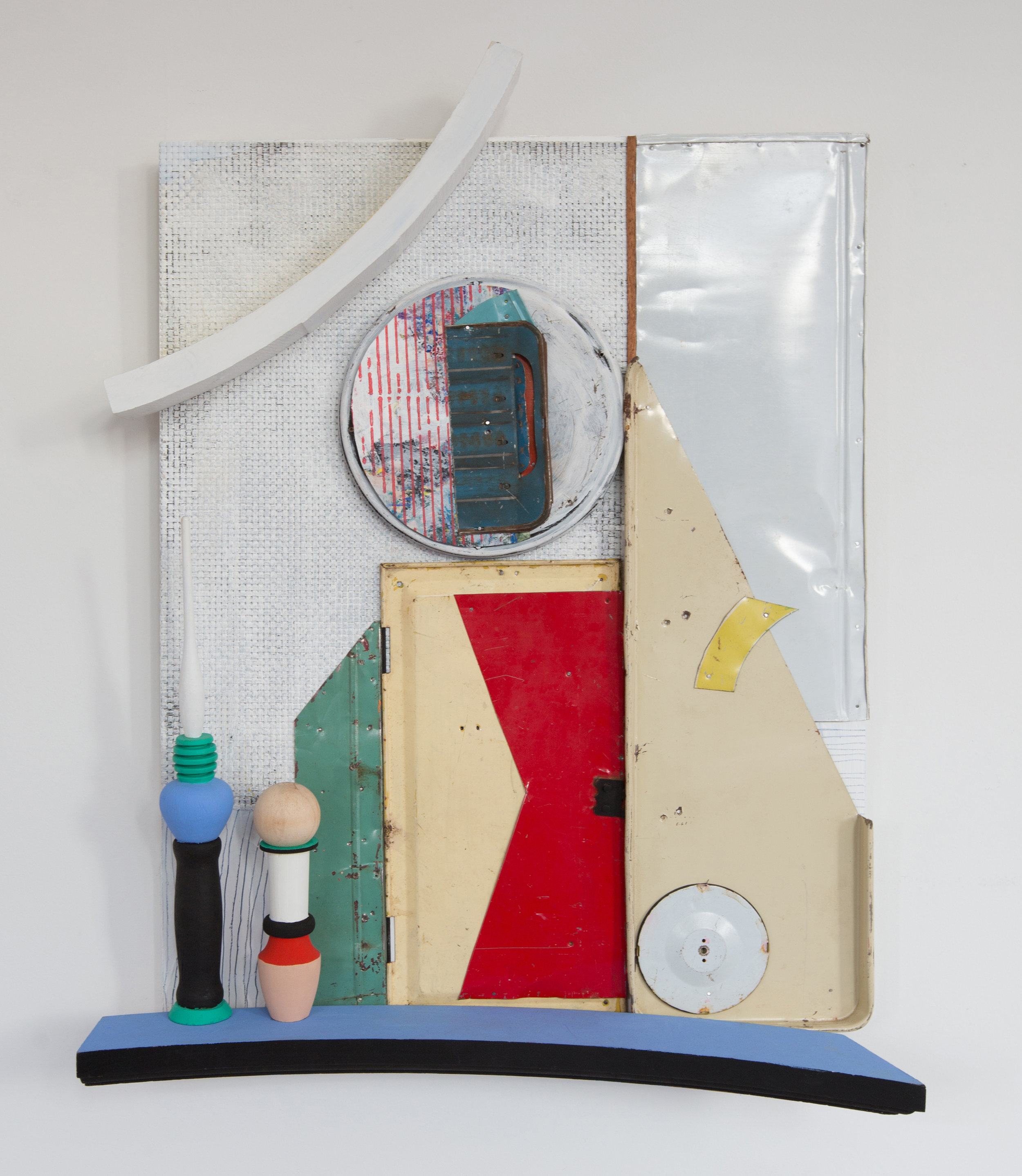 Shelved Stories Written in the Language of Objects,  2017, Acrylic, Flashe Vinyl, Found Wood, Fabric, Ink, Collage, Tin, Nails on Panel