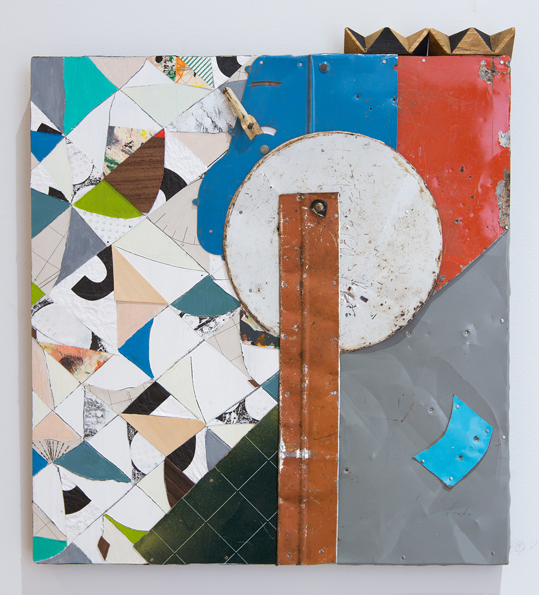 """Tap Dancing on an Uneven Floor,  2017, Acrylic, Flashe Vinyl, Collage, Ink, Found Wood, Tin on Panel, 18 ¾"""" H x 16 ¾"""" W"""