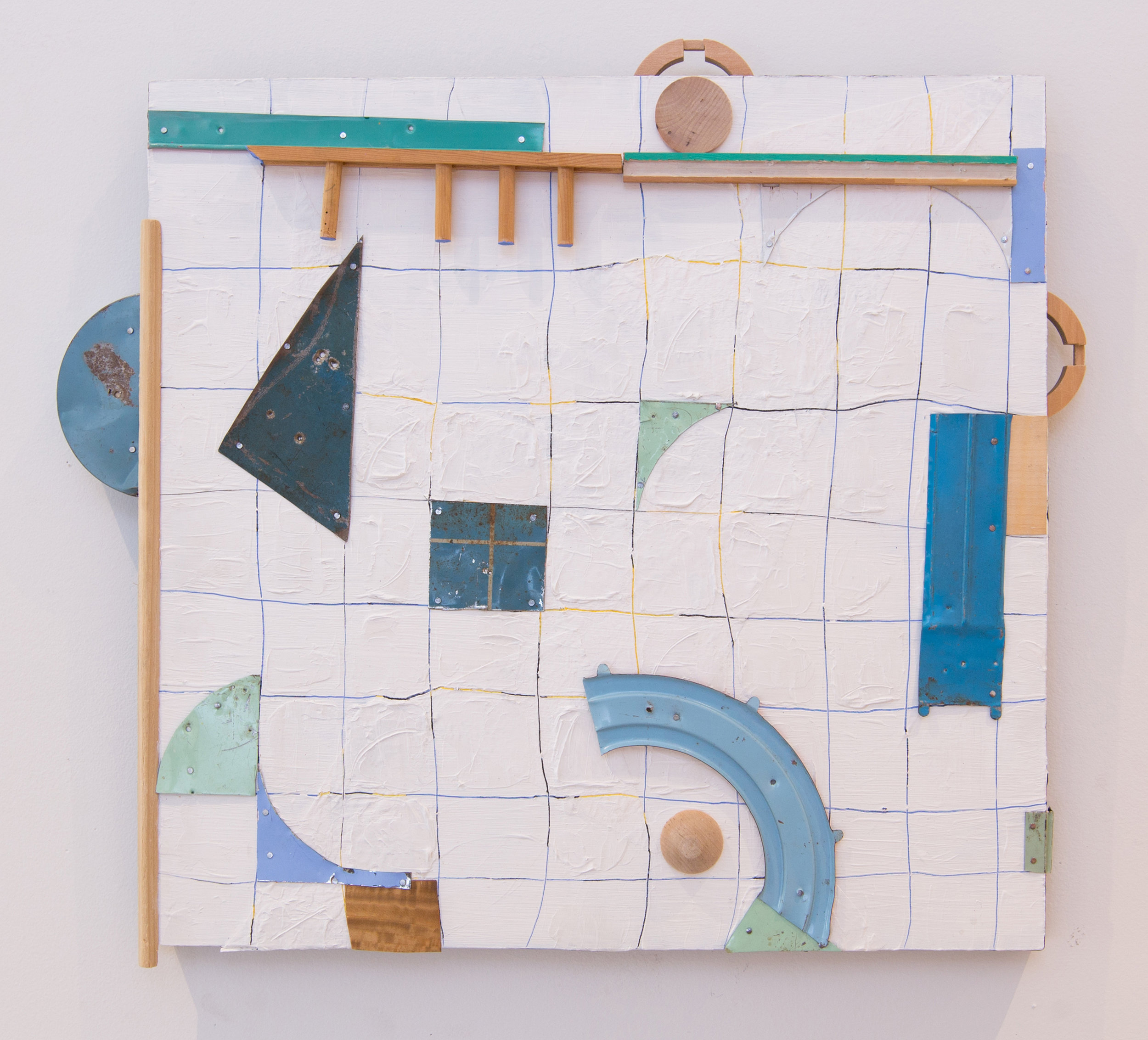 Subtle Suggestions in Blue , 2017, Acrylic, Flashe Vinyl, Collage, Found Wood, Tin on Panel