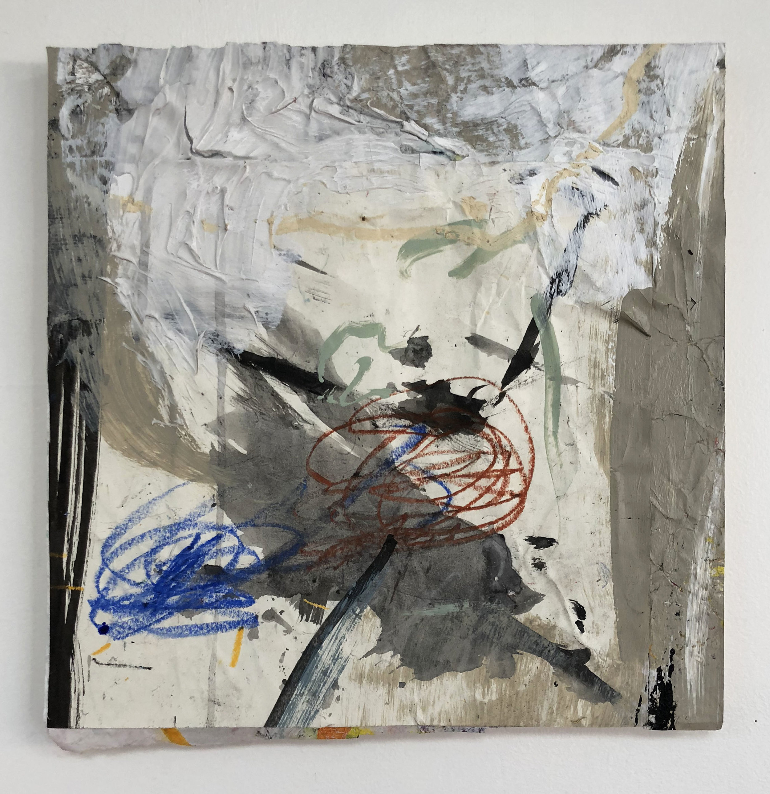 Appropriated Marks Discussing Directions,  2016-18, Collage, charcoal, acrylic, oil, ink on panel