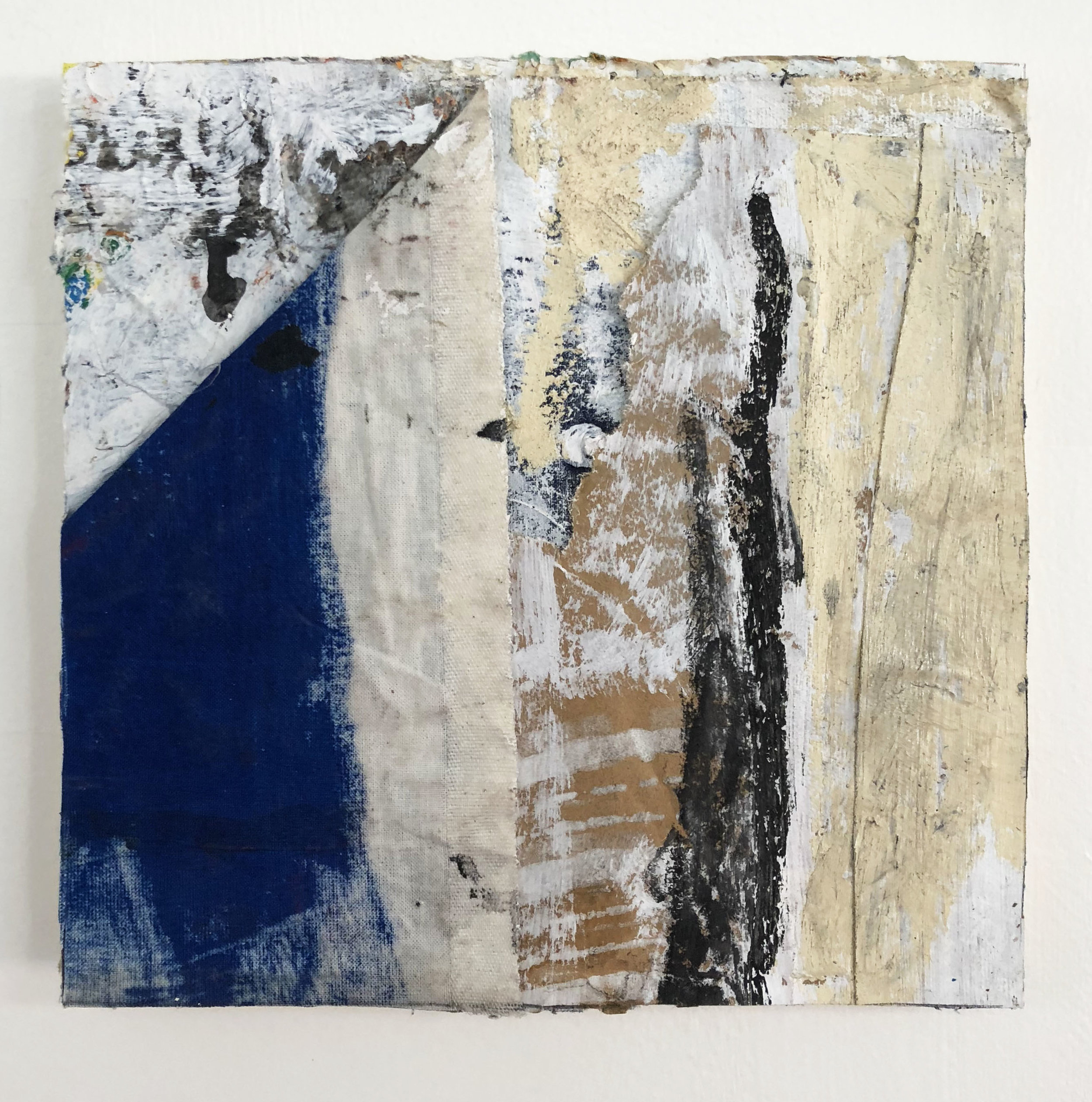 Blue Facade,  2016-18, Collage, charcoal, acrylic, oil, ink, canvas, conté, on panel