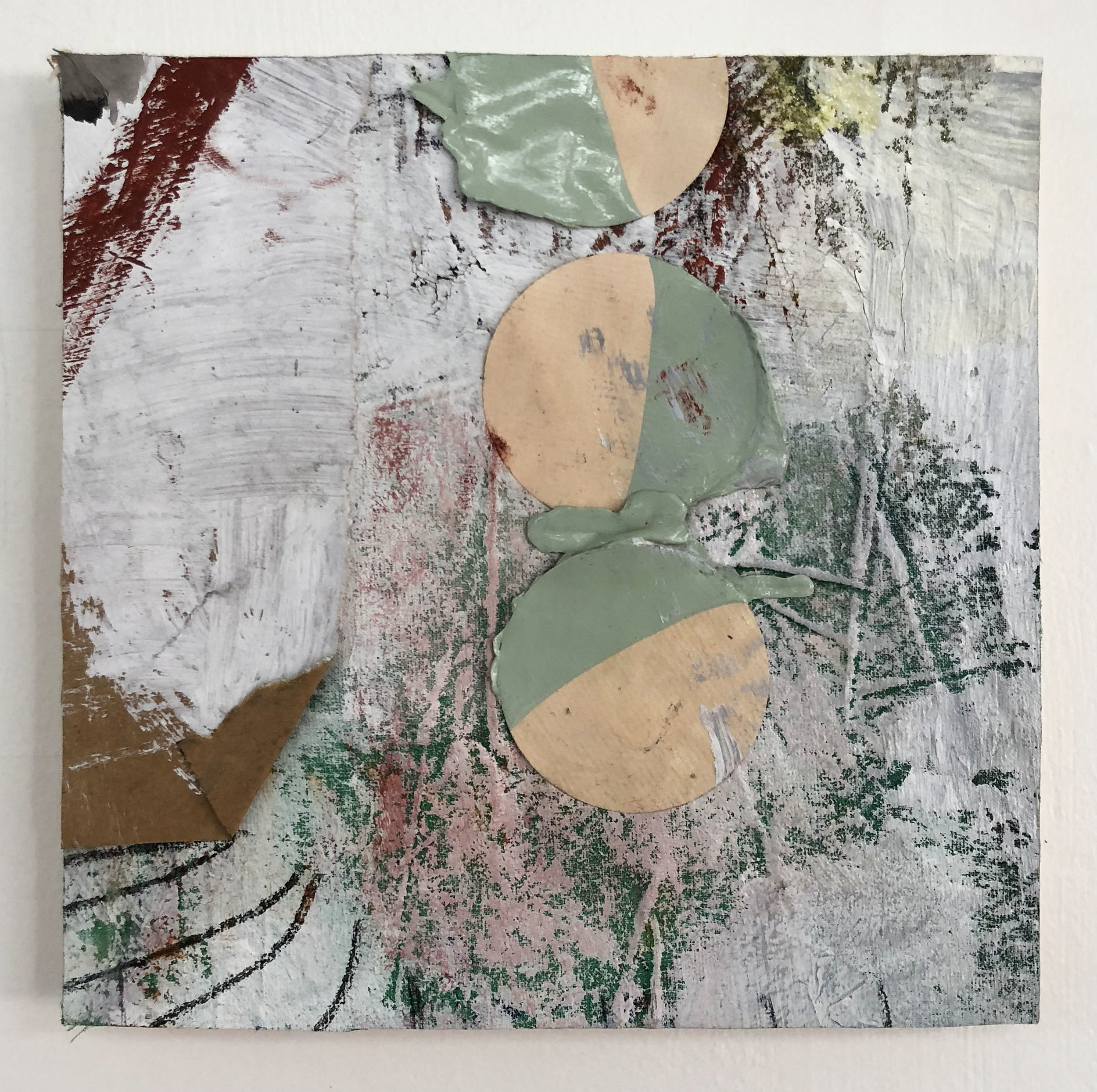 Dipped & Dotted,  2016-18, Collage, charcoal, acrylic, oil, ink, enamel, conté on panel
