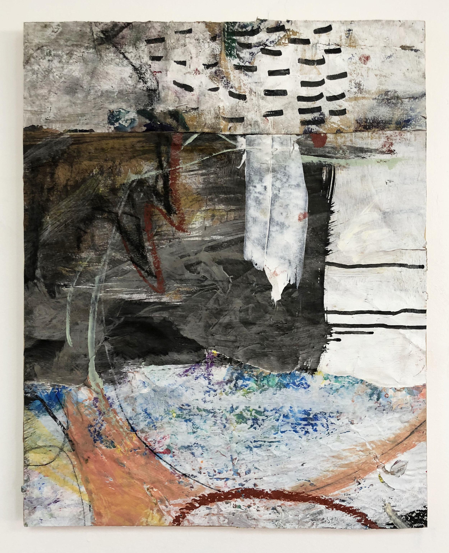 Skip, Drip, Smear & Erase,  2016-18, Collage, charcoal, acrylic, oil, ink, paint pen, conté on panel