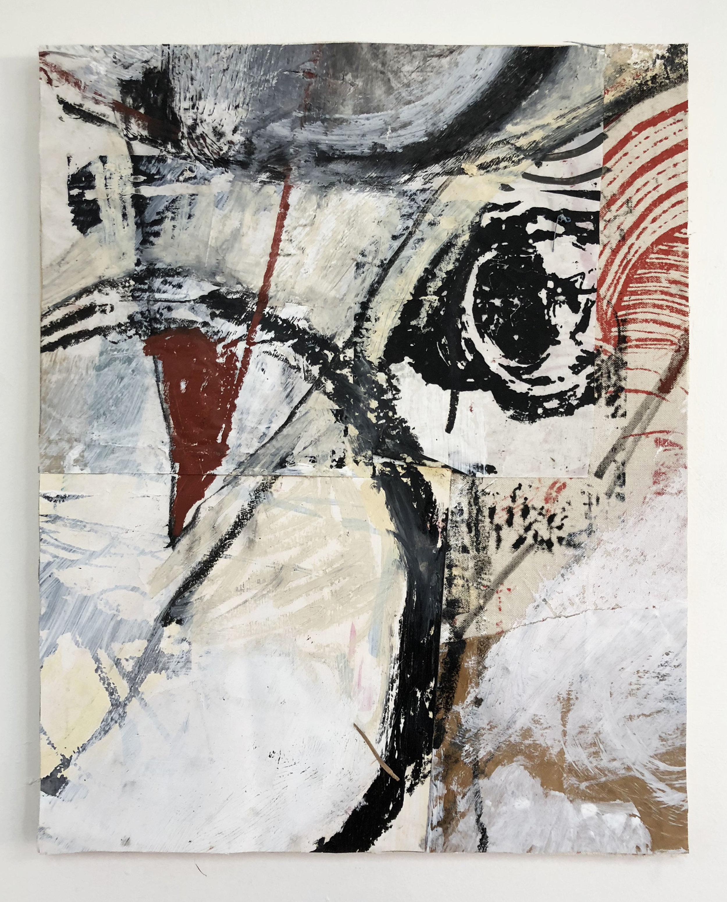 Fast-forward, Rewind & Pause,  2016-18, Collage, charcoal, acrylic, oil, ink, conté, serigraphy on panel