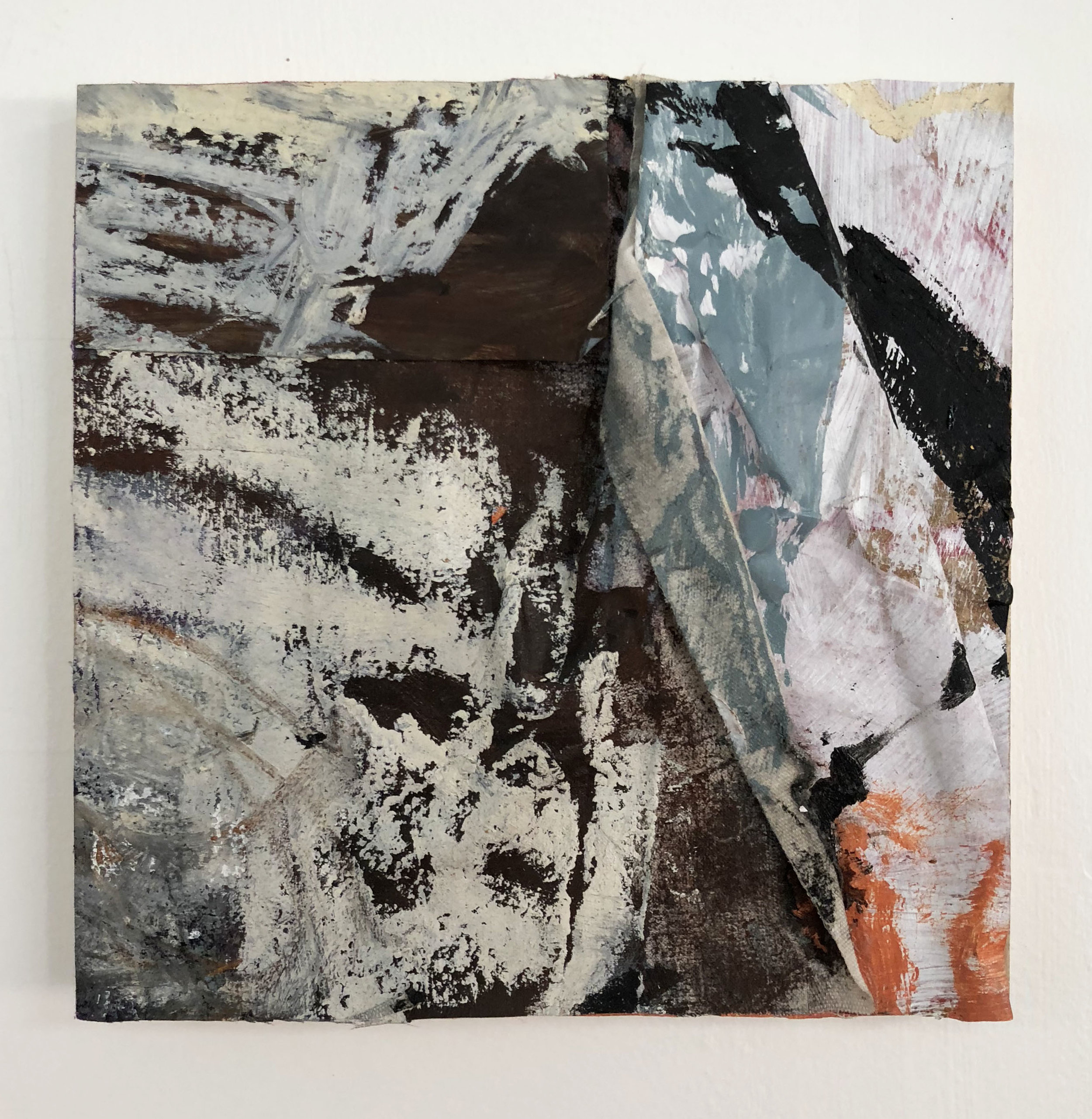 Fold Between the Lines,  2016-18, Collage, charcoal, acrylic, oil, ink, serigraphy, conté, canvas on panel