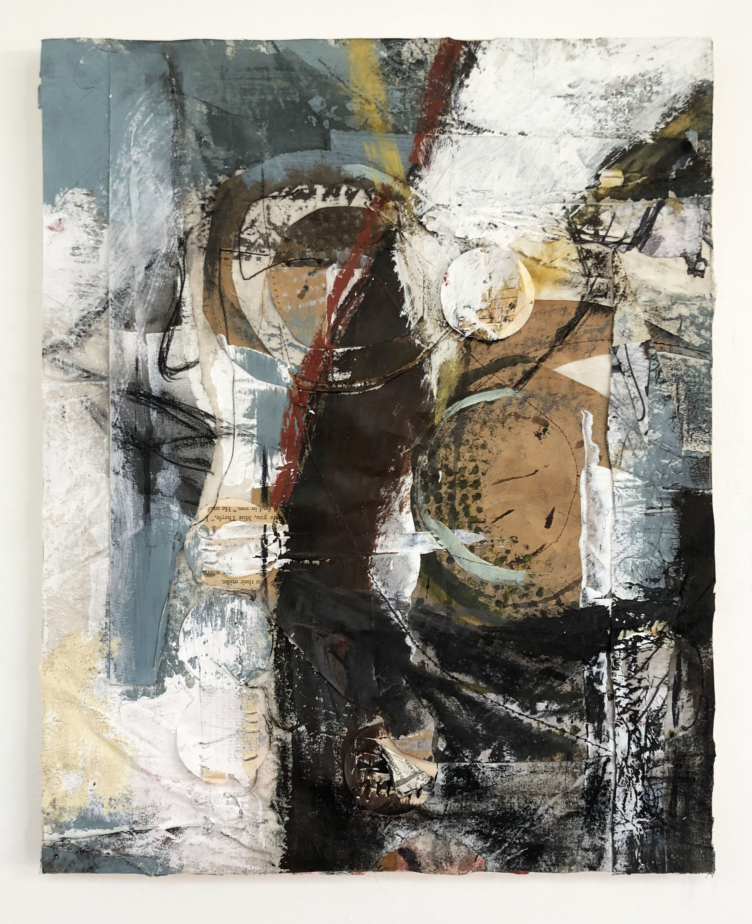 Sewn, Spiral & Swirl,  2016-18, Collage, charcoal, acrylic, oil, ink, thread, conté, on panel
