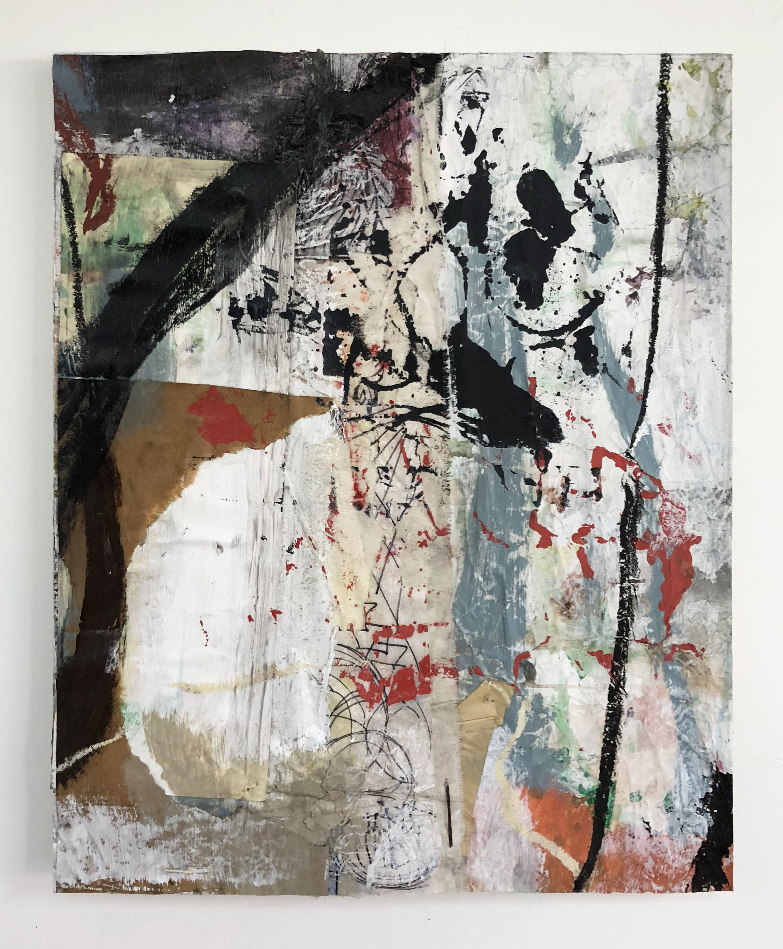 Layered & Fast Pacing Memories,  2016-18, Collage, charcoal, acrylic, oil, ink, serigraphy, canvas on panel