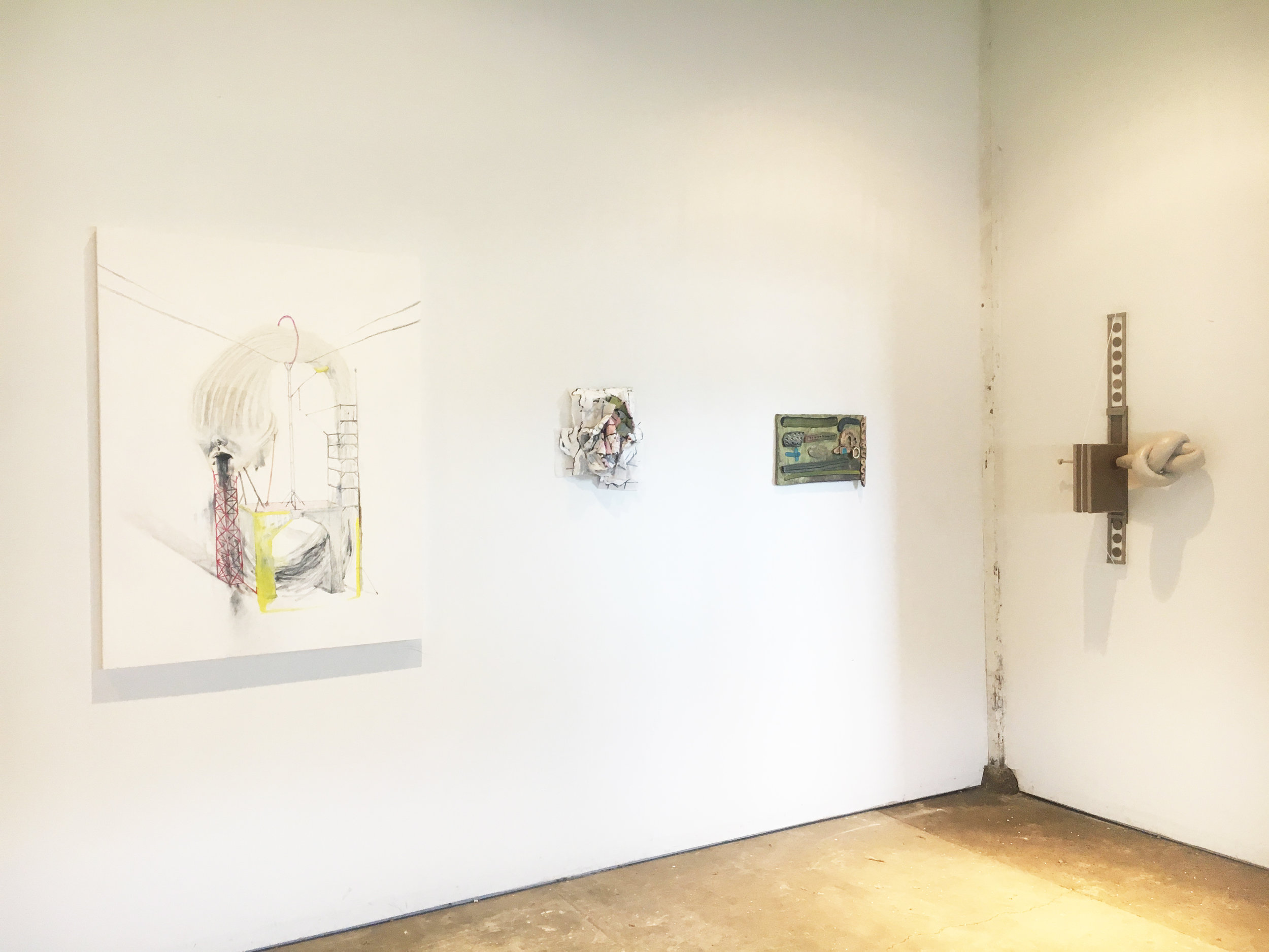 "(From Left to Right) Lydia Goldbeck, ""Untitled,""2018, Stephanie Sherwood, ""Convulse 3"", 2018, Luke Armitstead, ""Landscape Collage,"" 2016, Richelle Soper, ""50/50"","" 2018"