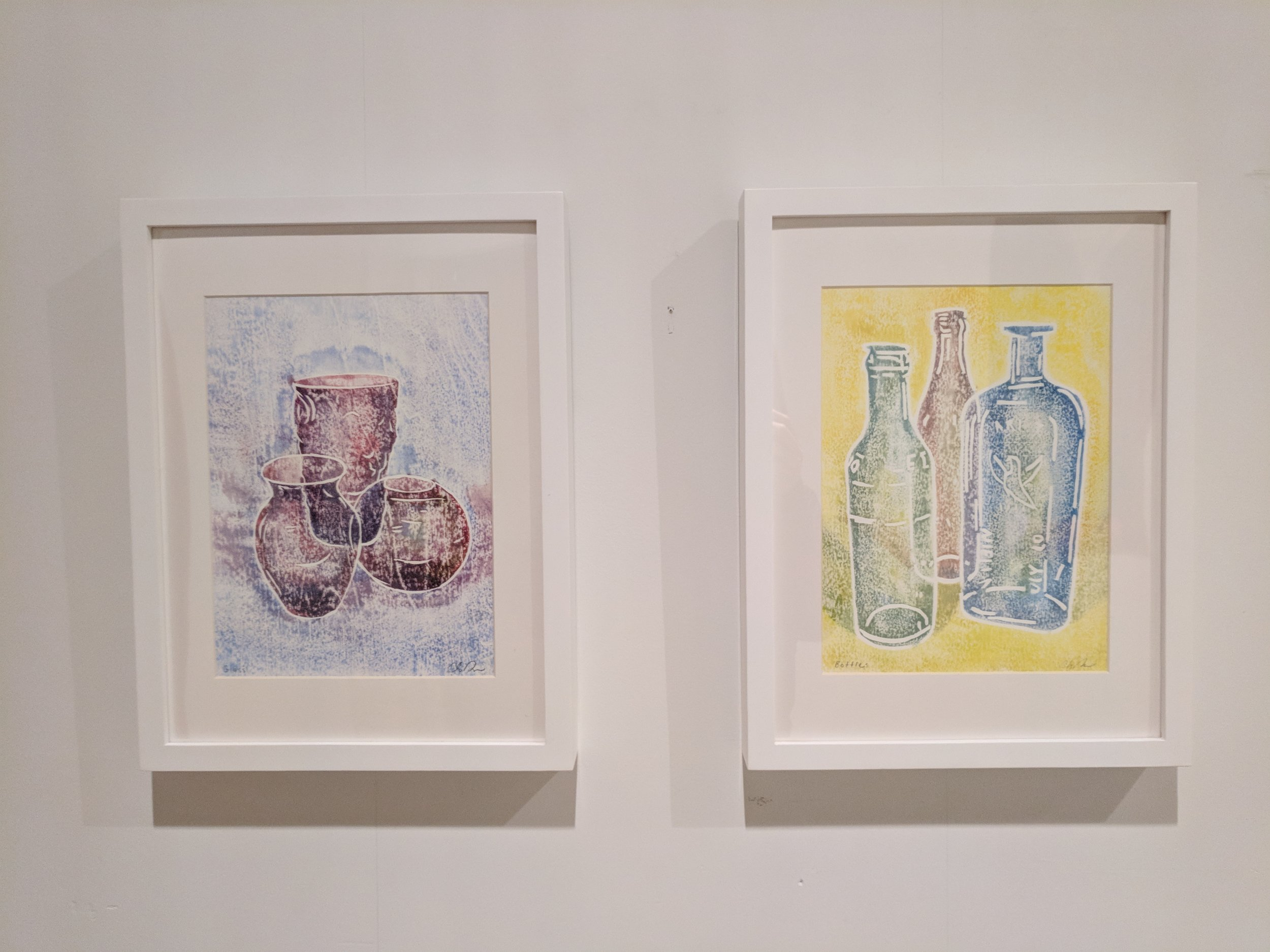 "Chris Rollins, (Left) ""Glass,"" 2017, (Right) ""Bottles,"" 2017, image courtesy of Joshua Thompson"