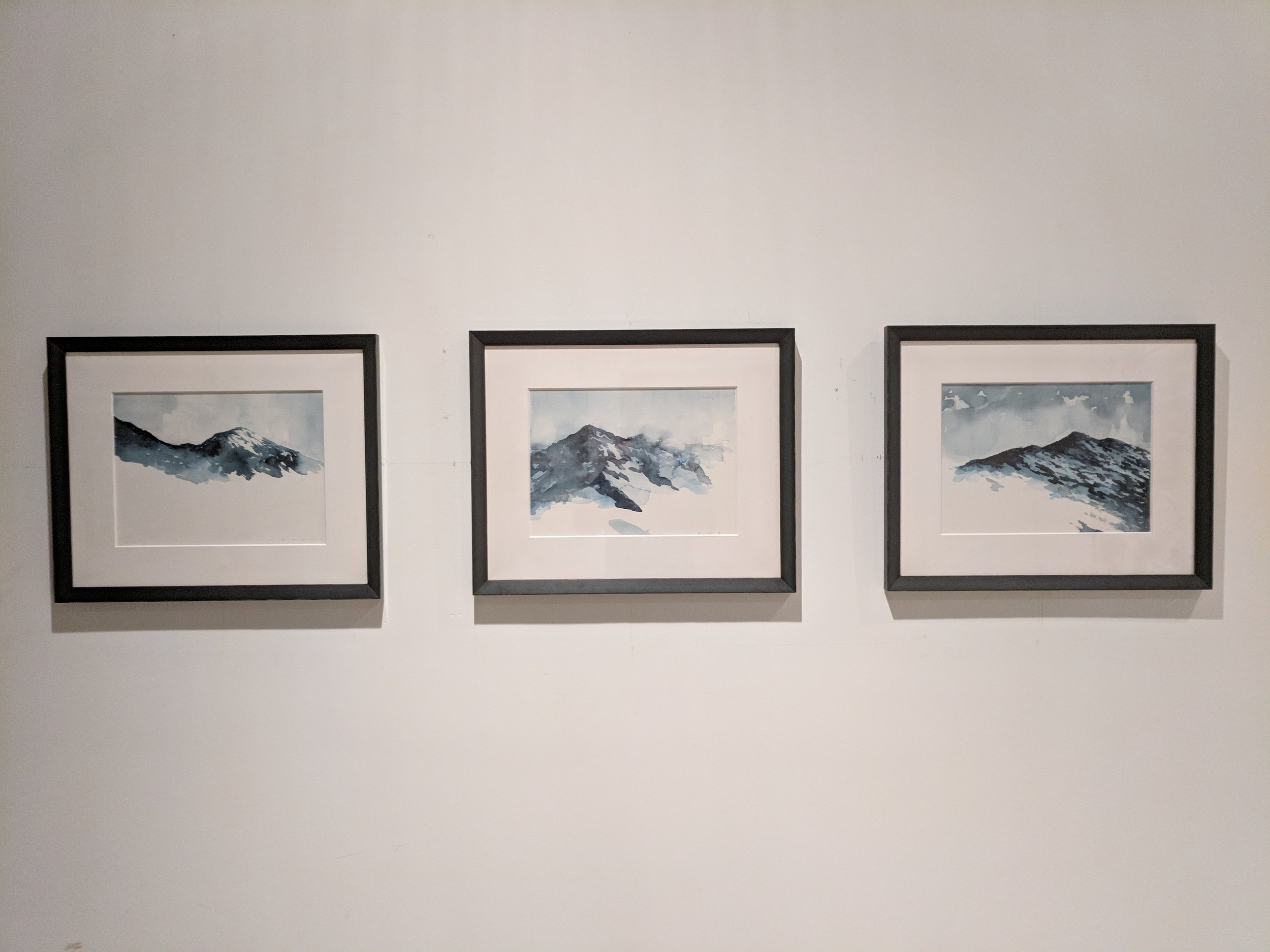 "Lowell Poisson, (Left to Right) ""Snoqualmie Pass No. 3,"" ""Snoqualmie Pass No 4,"" ""Snoqualmie Pass No 5,"" 2017, image courtesy of Joshua Thompson"