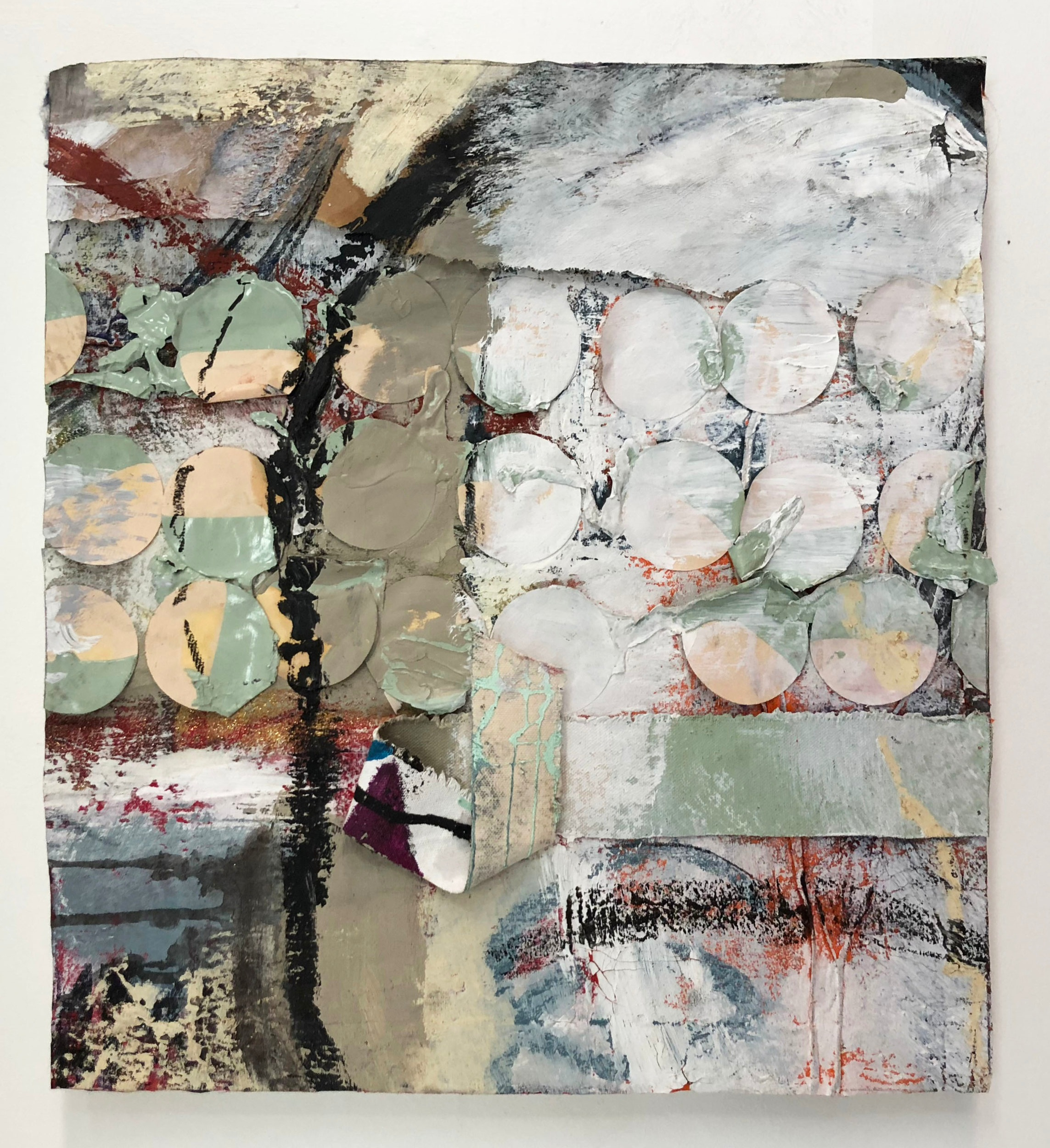 Circles Standing in Line,  2016-18, Collage, charcoal, acrylic, oil, enamel, ink, glitter, canvas on panel