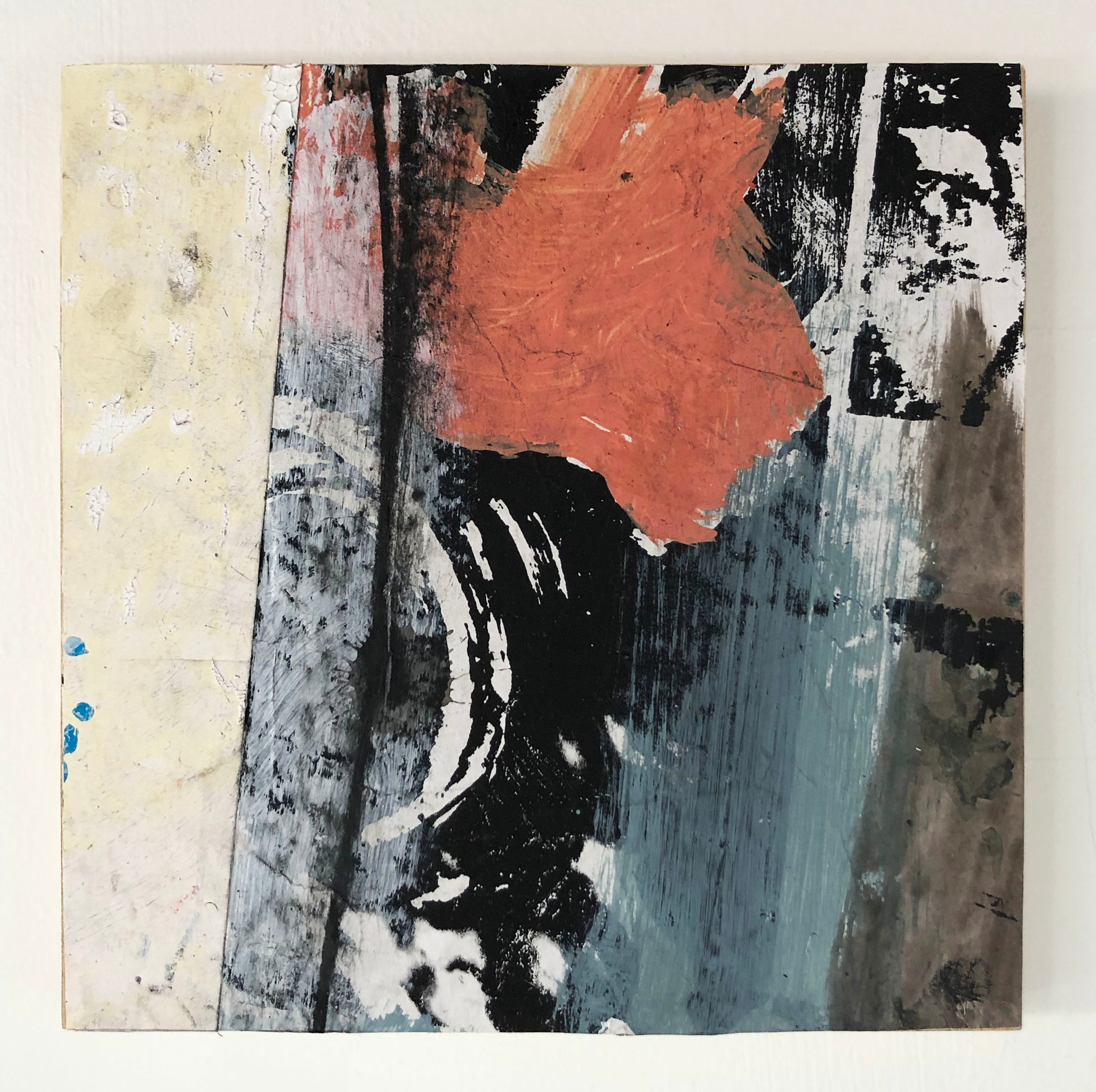 Accumulation,  2016-18, Collage, charcoal, acrylic, oil, ink, serigraphy, on panel