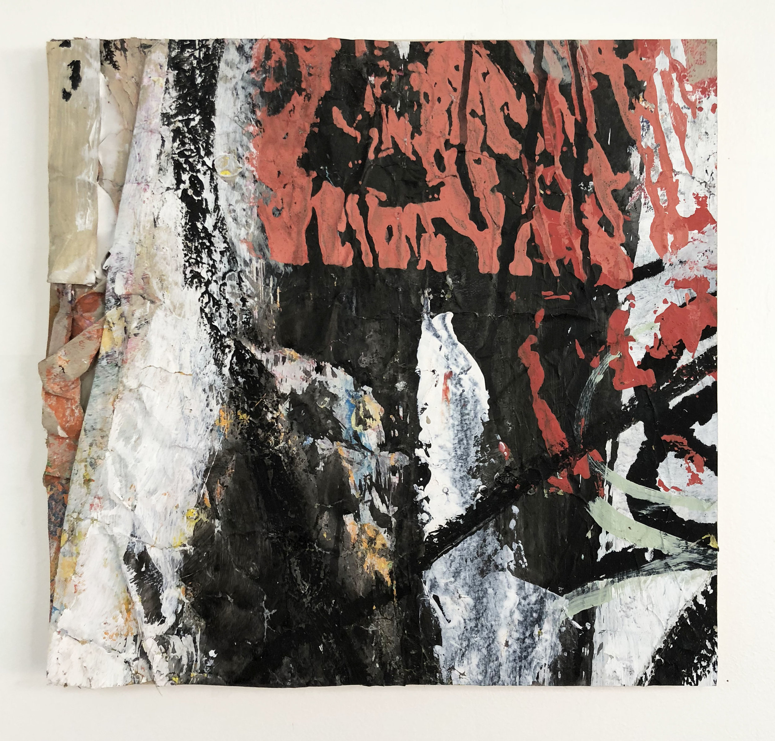 A Heavy Hand Like a Ton of Bricks,  2016-18, Collage, charcoal, acrylic, oil, ink, serigraphy on panel