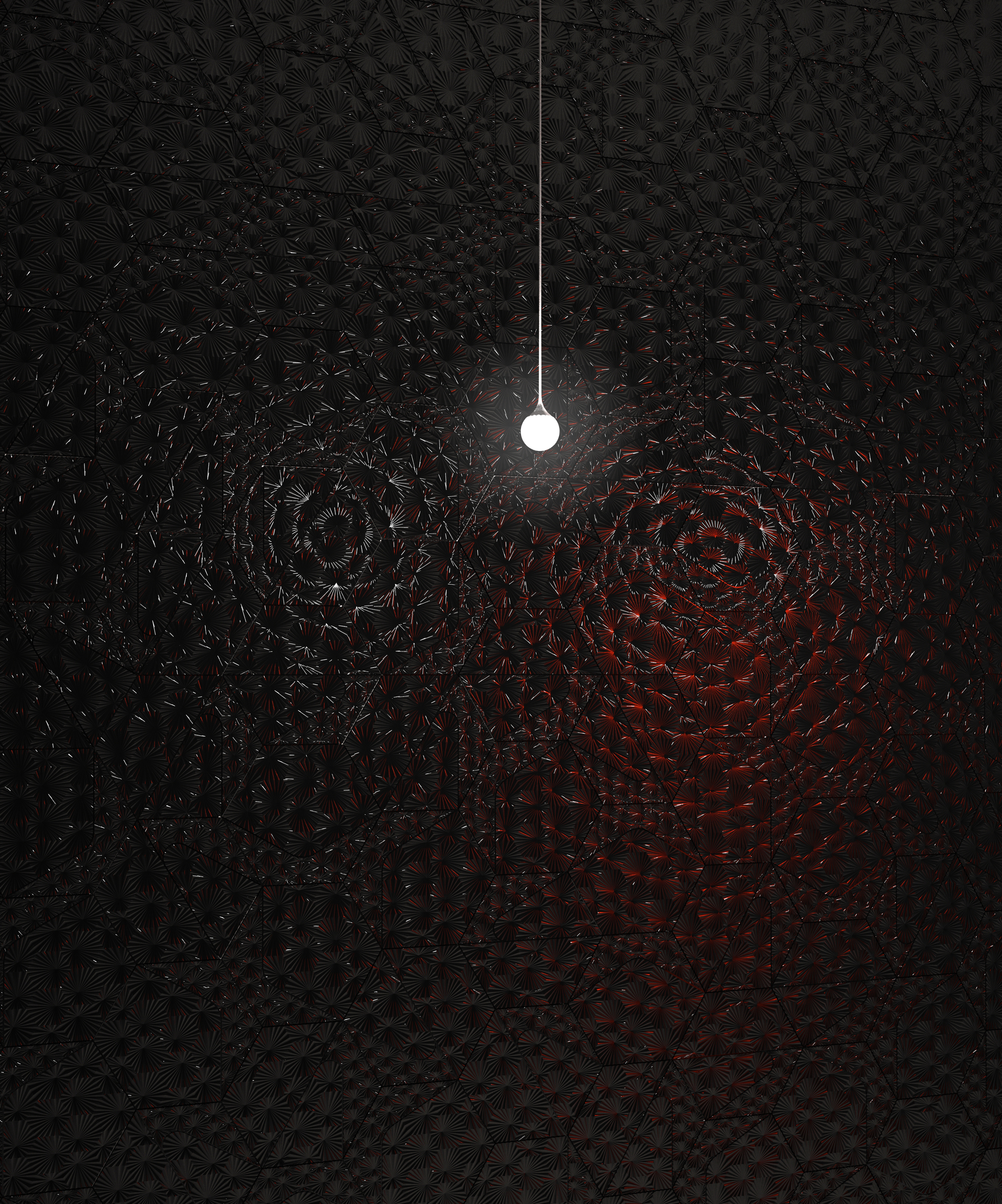 The dynamic design of 'Burst' rewards careful attention to lighting: a wash of light across the surface of a matte finish tile will heighten the legibility of its pattern; a glossy finish will bounce point lights or daylight into the tile's radial grooves, producing dazzling reflections and highlights.