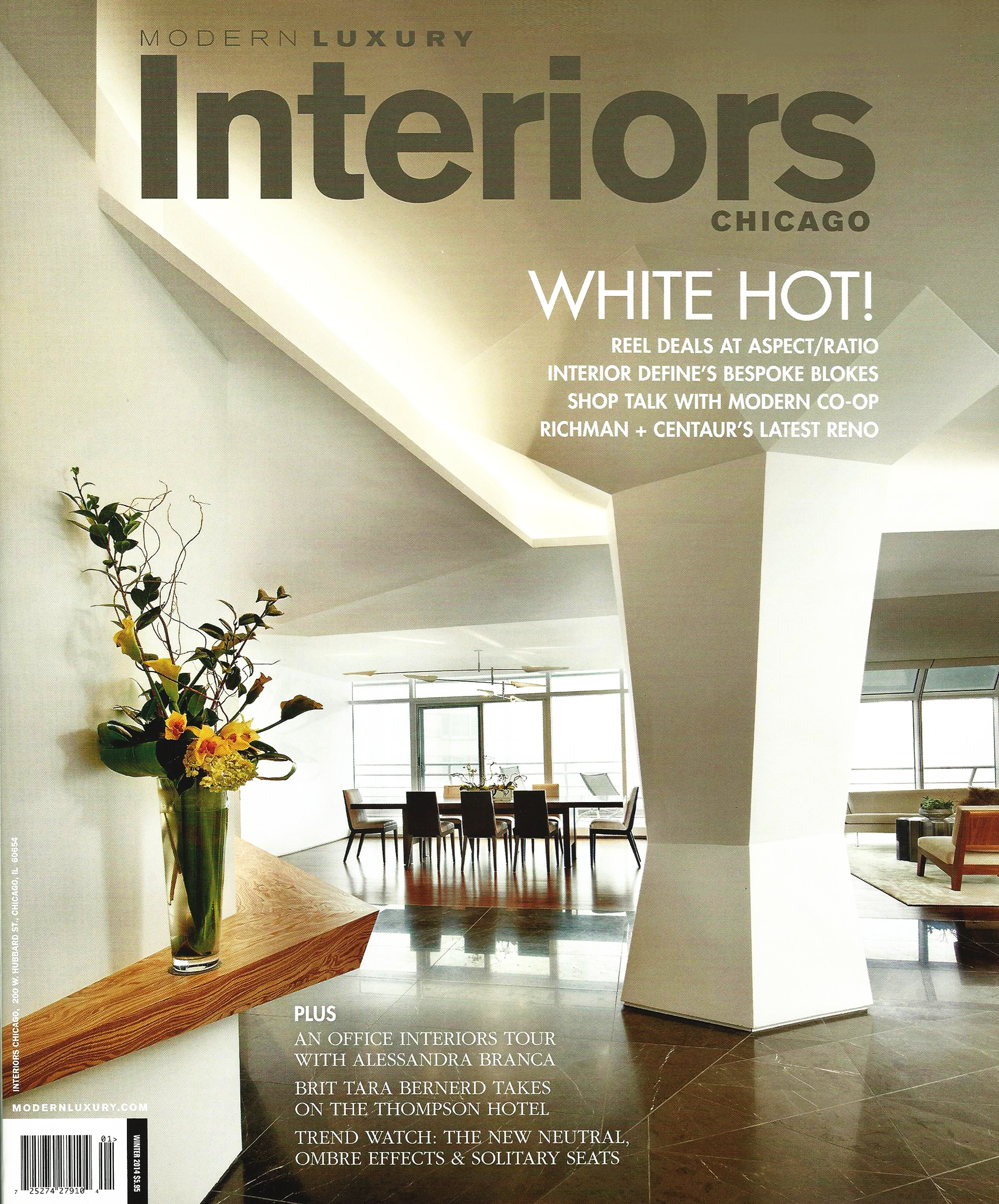 Modern Luxury Interiors Chicago - Winter - pg 58 - Dining by Design Feature - 2014