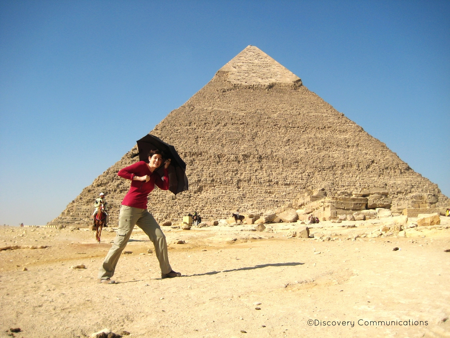 Having fun on location in front of the pyramid of Khafre!