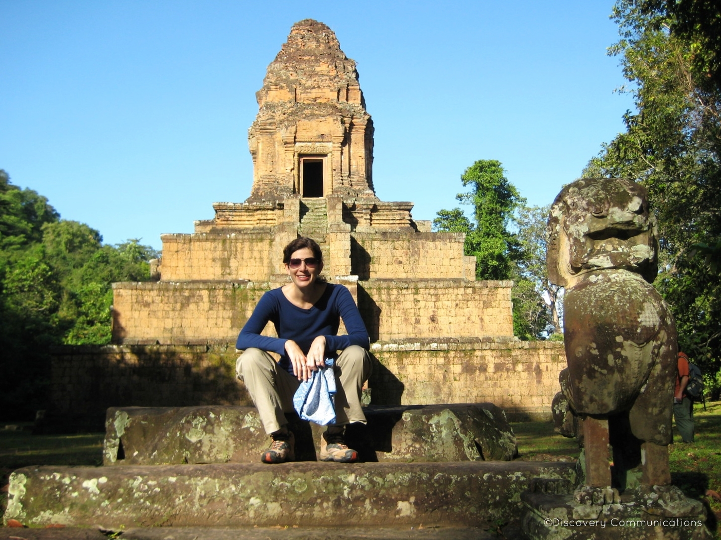 "Taking a break on location in Cambodia while filming of ""Out of Egypt."""