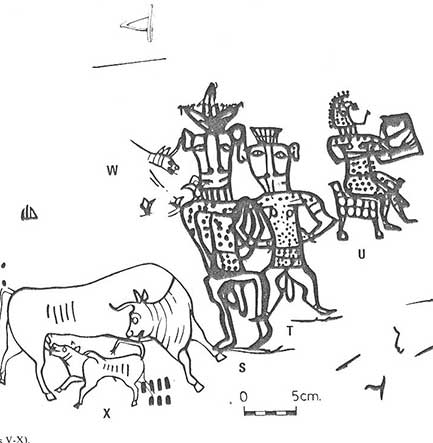 """Image on a painted on a jar found in Kuntilat Ajrud on the Sinai Peninsula. The image was painted below the inscription, """"Yahweh and his Asherah."""""""