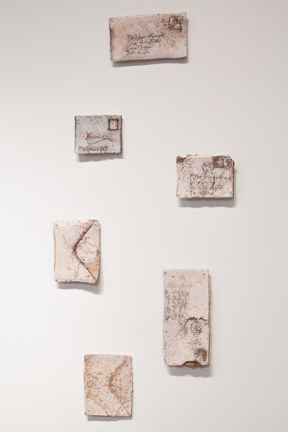 Claire Shurley     Letters to Karen     reclaimed stoneware, dirt from Shurley farmland, slips, stain,iron oxide, glaze, cone 6 oxidation