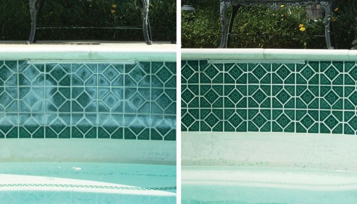 Because of the Valley's hard water and high summer pool evaporation, we recommended you drain and acid wash your pool every three to four years to help remove excess calcium, algae and other contaminates that may lead to interior pool staining and that unsightly  white ring  on your pool tile and pebble-tec surface.