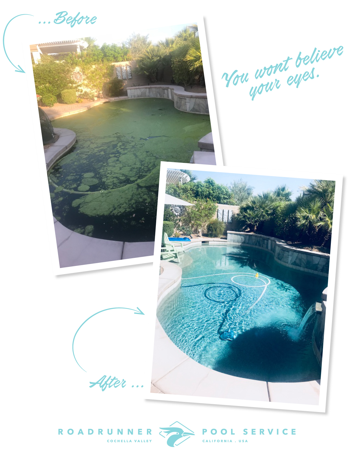 "We're often called to complete ""Green Pool Clean Ups"" There are several different methods for turning a green pool clear again. You can drain a pool and muck out the algae before refilling or you can turn the pool chemically with chlorine and water circulation. The method you choose is dependent on other factors like whether the pool requires repairs to the interior, how old the water is and if you need to replace the pool water anyway."